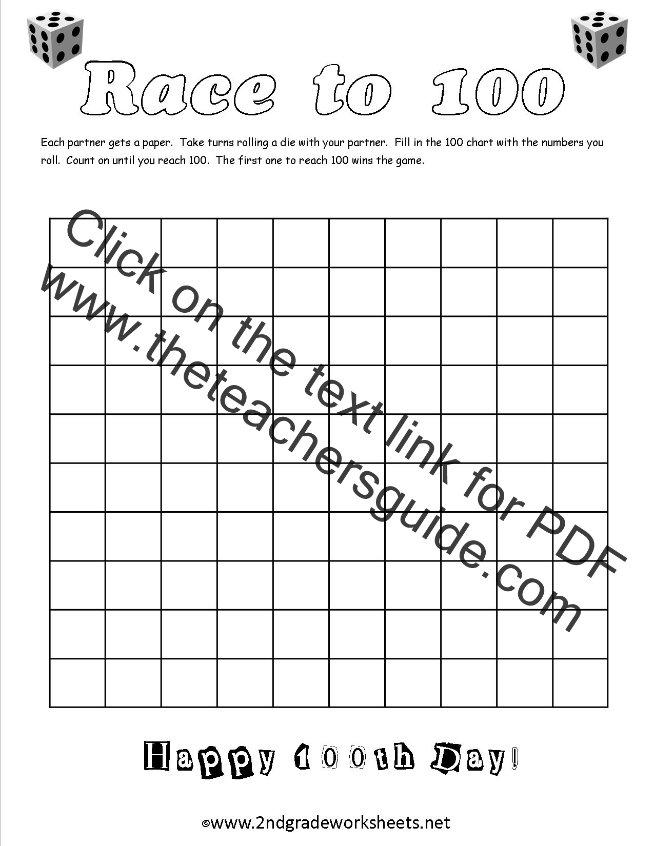 worksheet Counting To 100 Worksheet 100th day of school worksheets and printouts worksheet race to 100