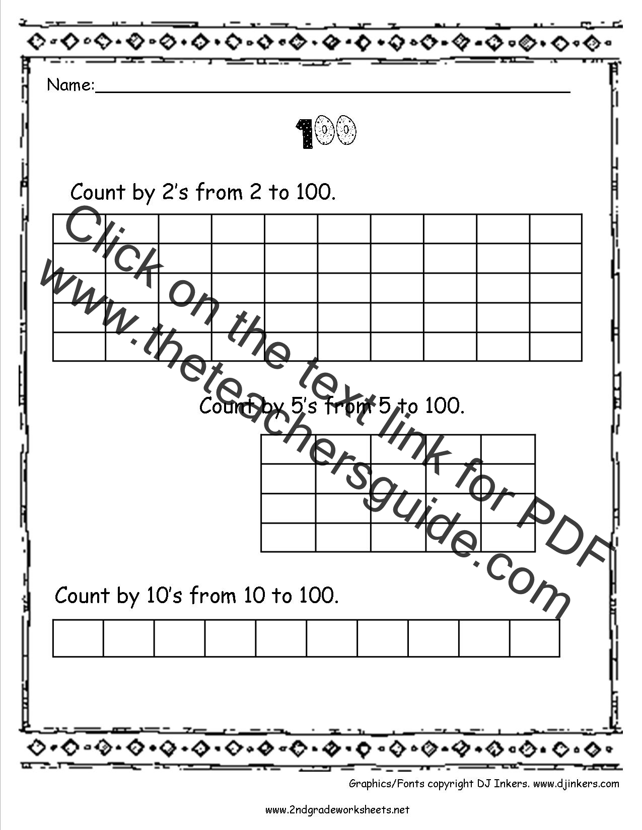 100th day of worksheets and printouts