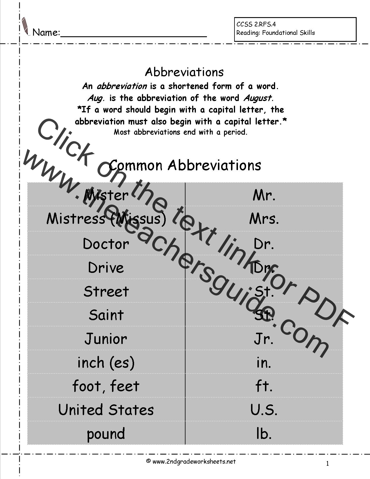 Printables 2nd Grade Writing Worksheets Free Printable free languagegrammar worksheets and printouts abbreviaitons worksheets