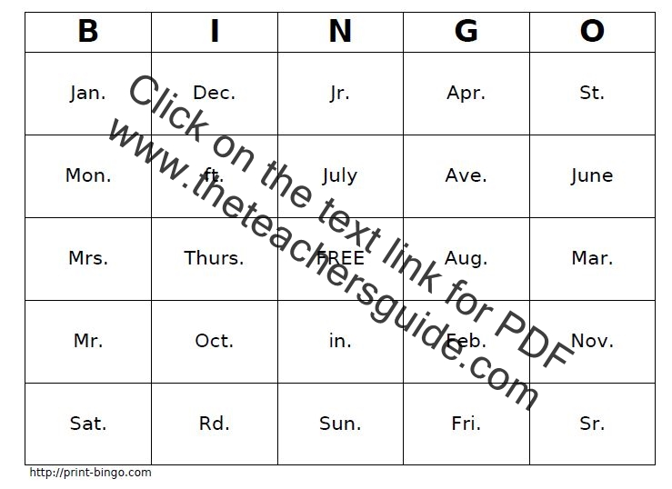 Free Abbreviation Worksheets And Printouts. Abbreviations Bingo Printout. Worksheet. Abbreviation Rules Worksheet At Clickcart.co