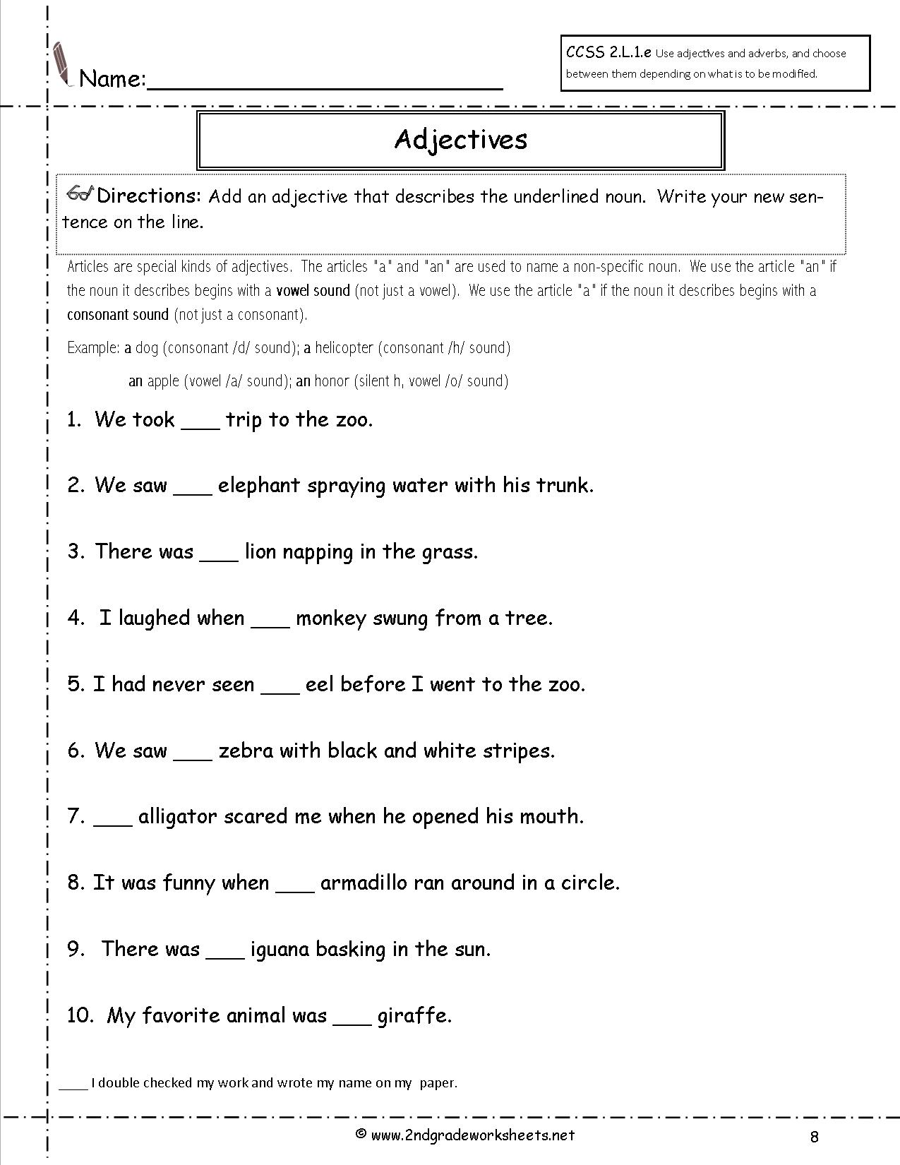 Worksheets 2nd Grade Grammar Worksheets Free free using adjectives worksheets a or an worksheet