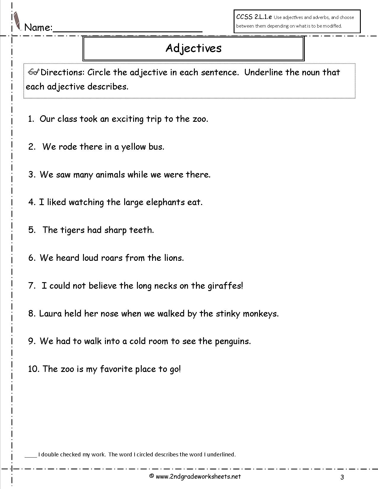 Worksheet Circle The Adjectives free using adjectives worksheets worksheet
