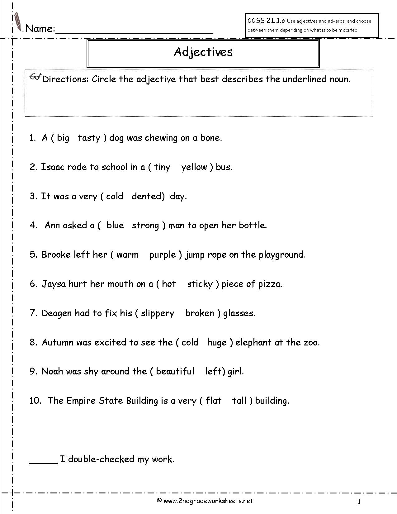 Worksheets Worksheet-adjectives free using adjectives worksheets worksheet