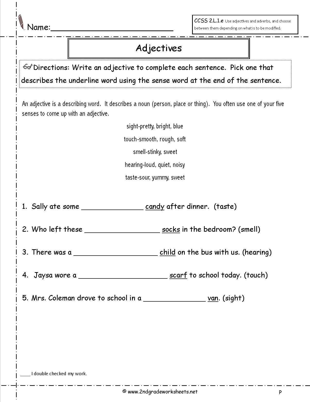 Worksheet Adjective Worksheets For Grade 2 free using adjectives worksheets worksheet