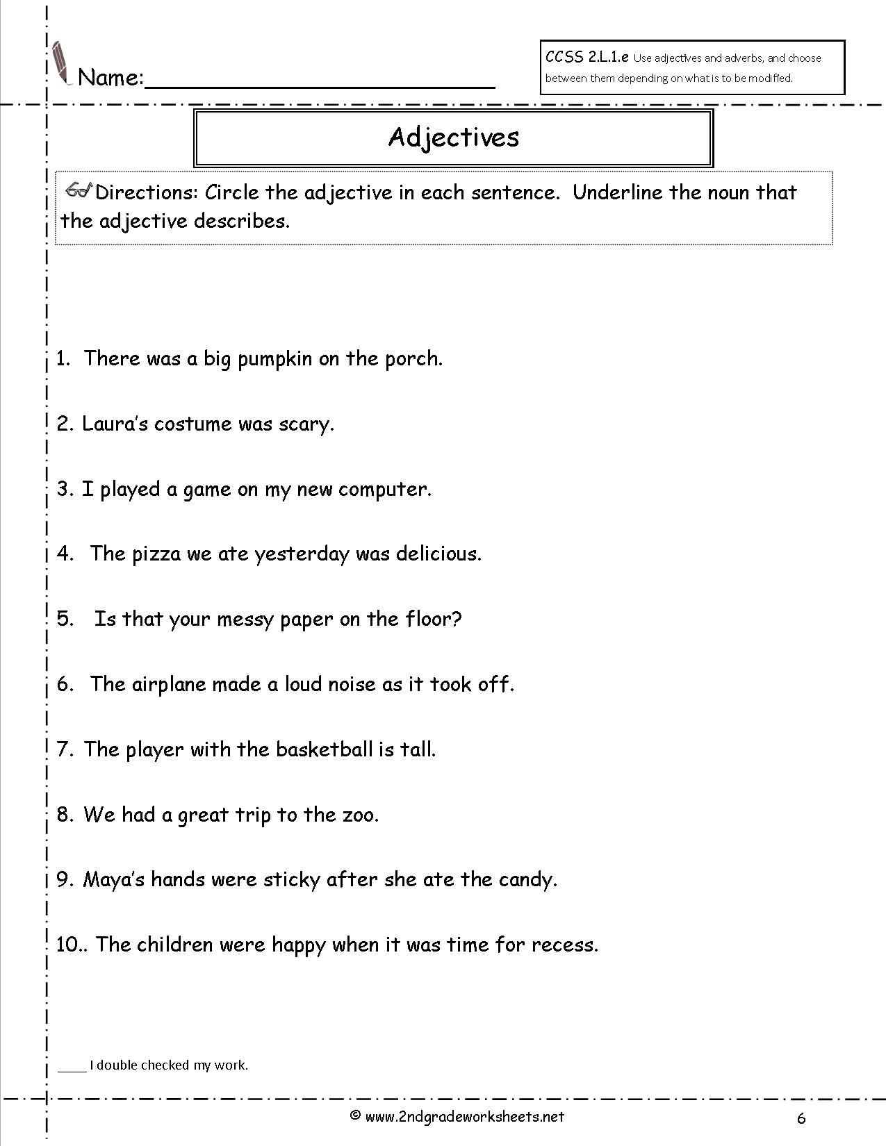 Free Using Adjectives Worksheets – 2nd Grade Adjective Worksheets