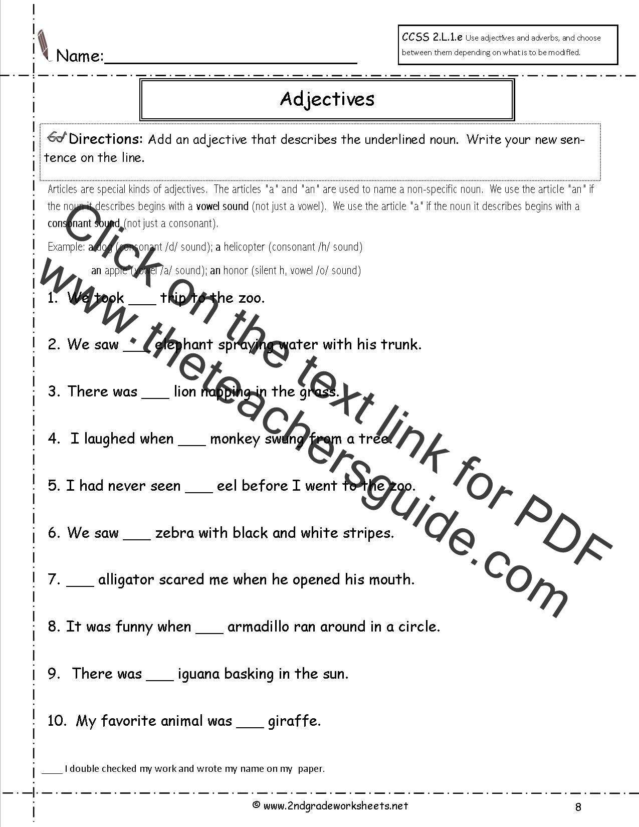 Worksheets Worksheets For 2nd Graders free languagegrammar worksheets and printouts adjectives worksheets