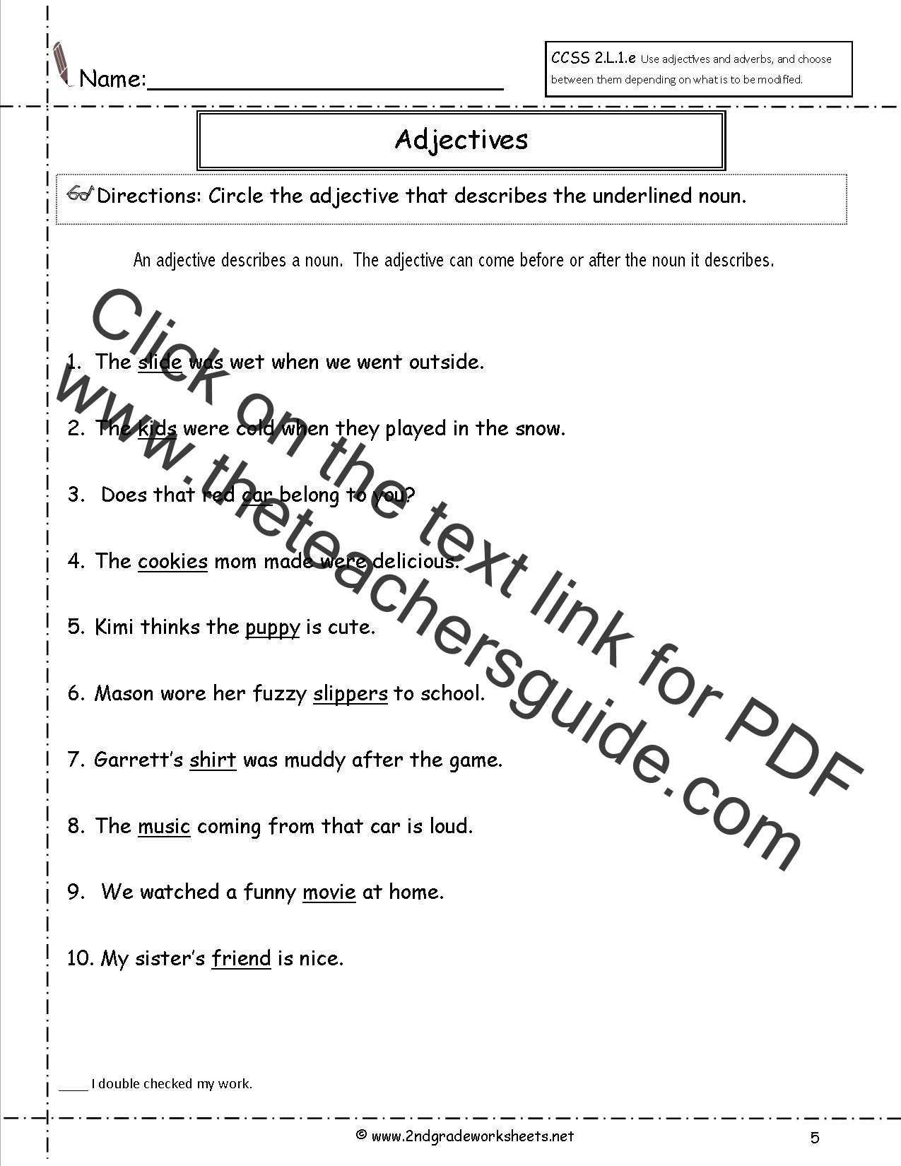 Free Using Adjectives and Adverbs Worksheets – First Grade Adjective Worksheets