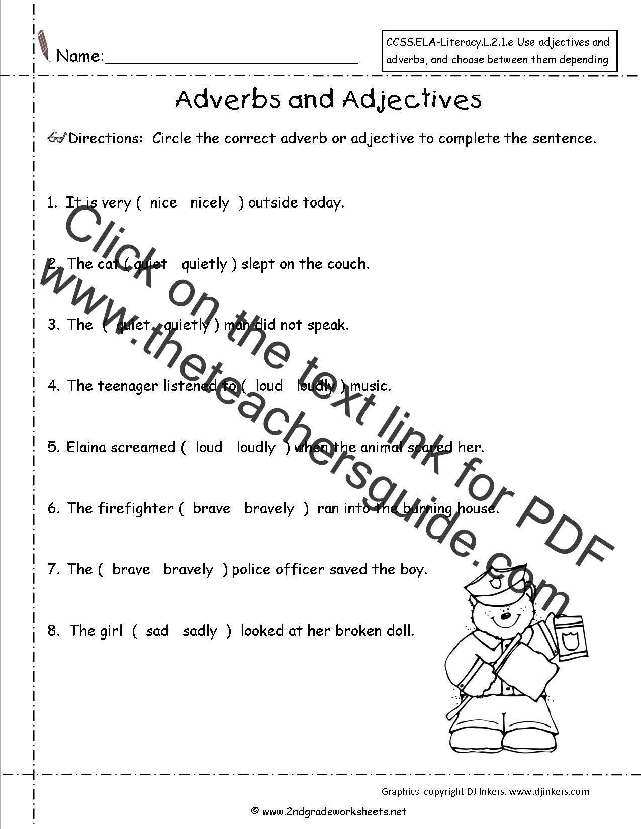Adverbs and adjectives worksheet 2nd grade