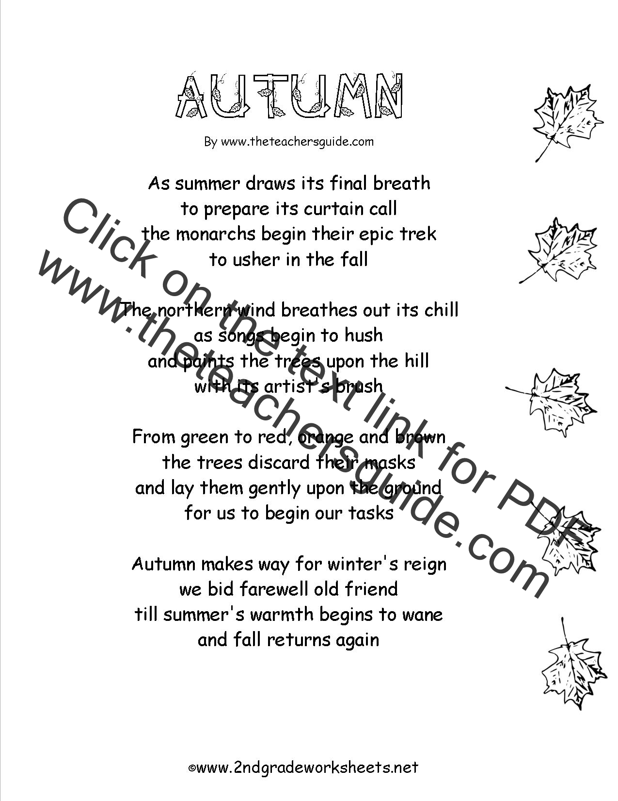 worksheet Autumn Worksheets autumn theme worksheets and printouts worksheet poem with comprehension questions