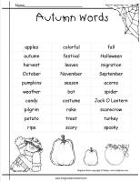 autumn word list worksheet