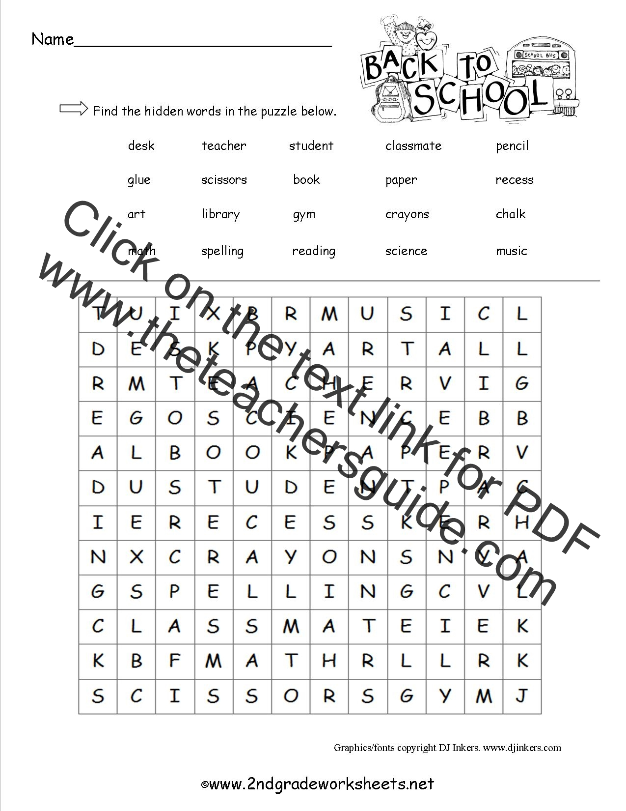 photo regarding 2nd Grade Word Search Printable named Absolutely free Back again in direction of Faculty Worksheets and Printouts