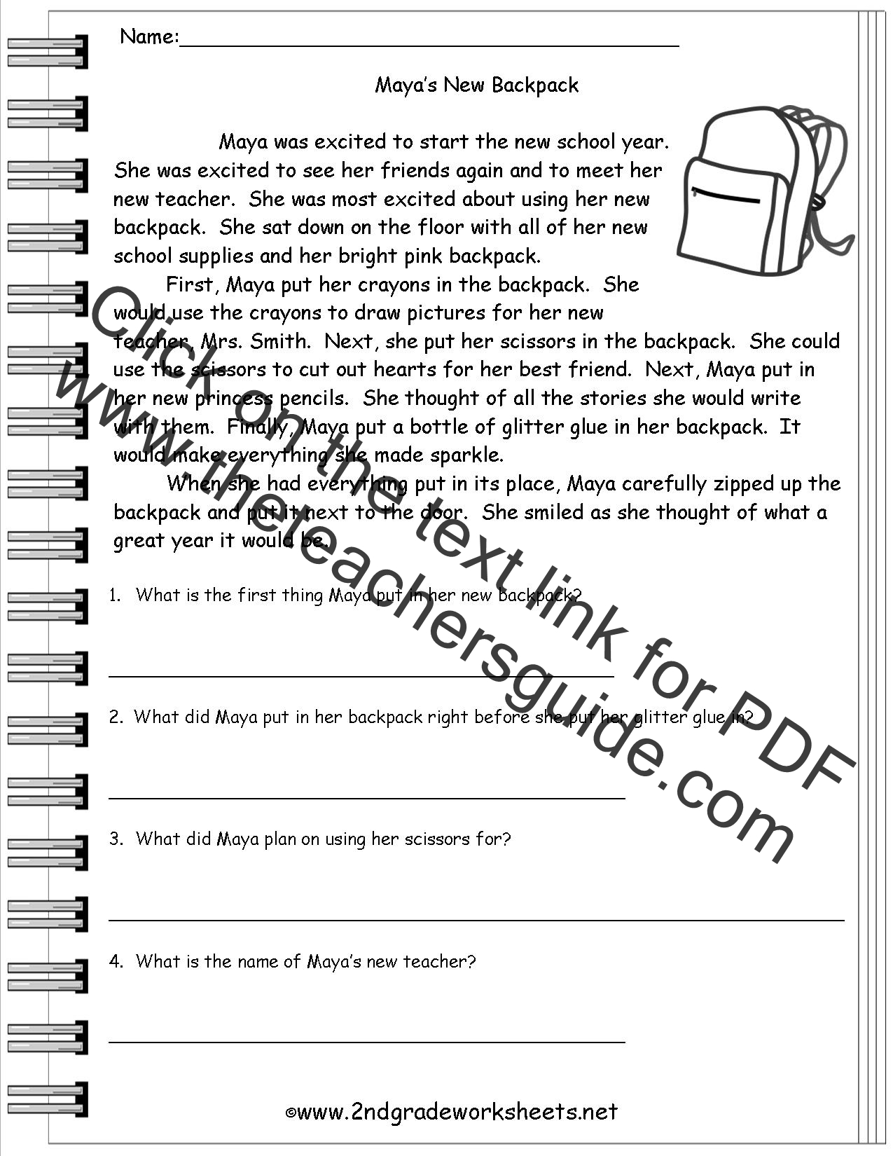 worksheet Free School Worksheets free back to school worksheets and printouts mayas new backpack comprehension story