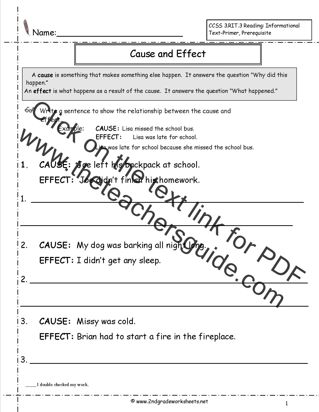 Cause and Effect Worksheets – Cause and Effect Worksheets 3rd Grade