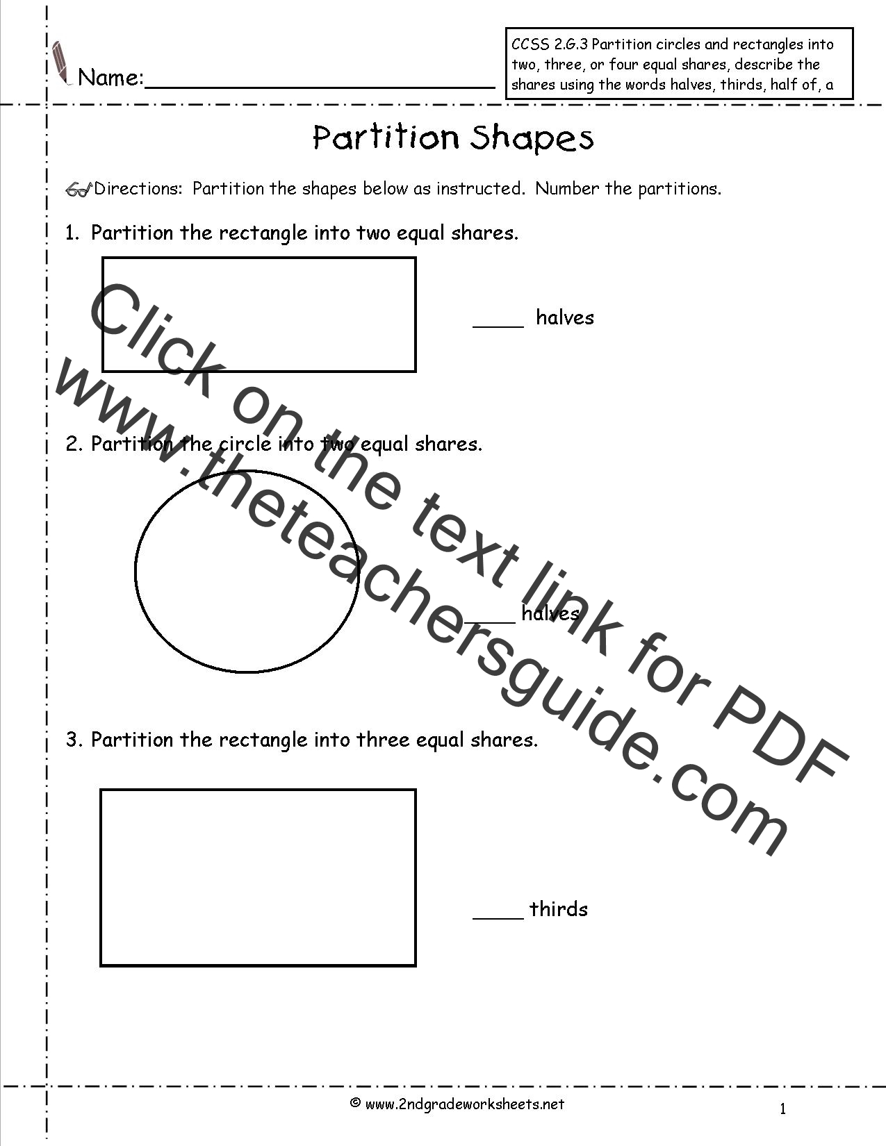 CCSS 2.G.3 Worksheets, Partition Shapes