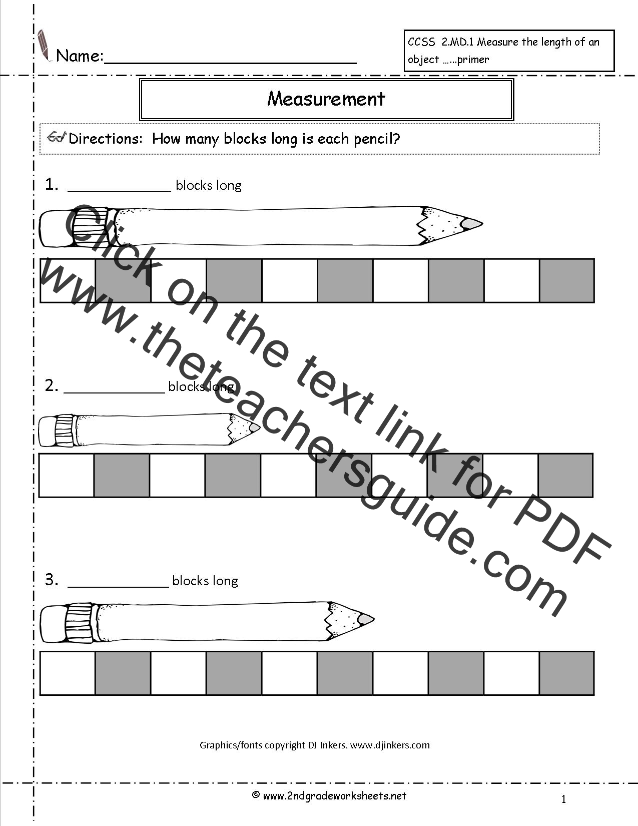 {CCSS 2MD1 Worksheets Measuring Worksheets – Non Standard Measurement Worksheets