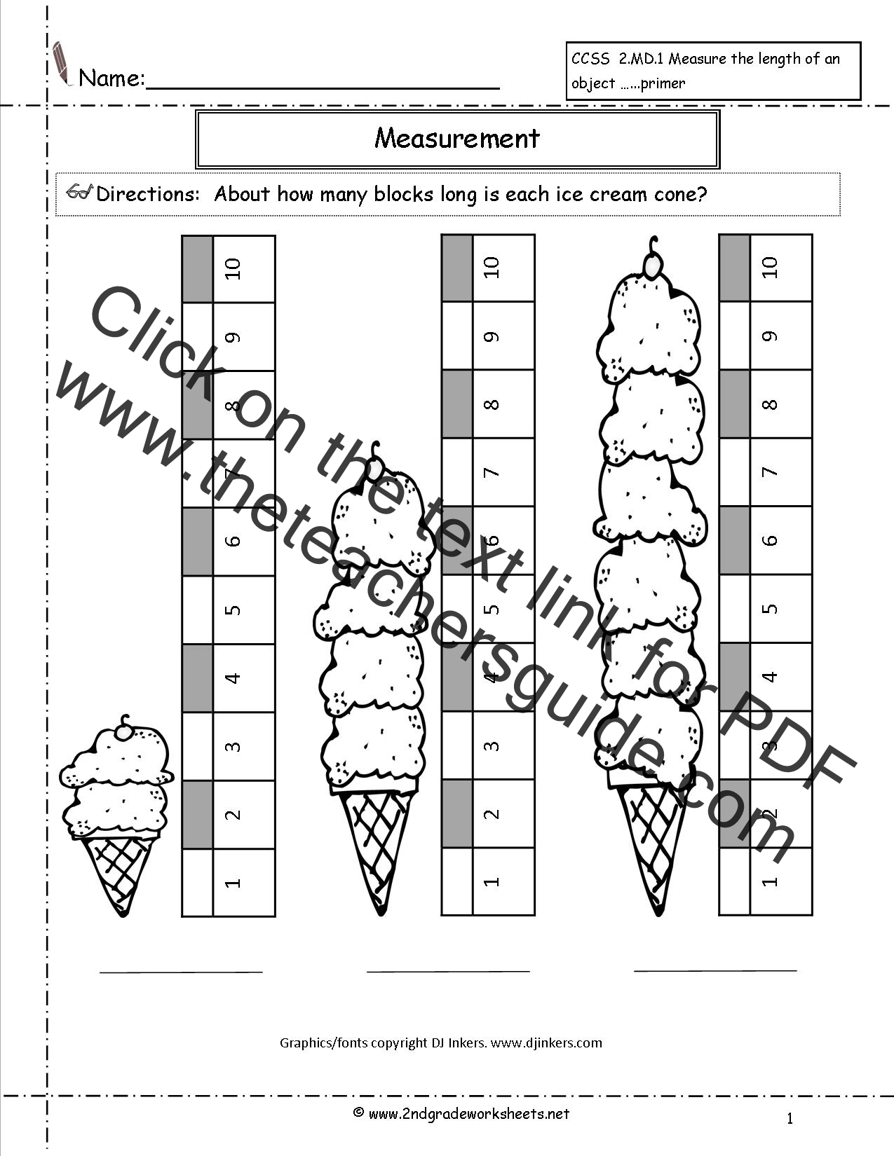 CCSS 2MD1 Worksheets Measuring Worksheets – Non Standard Measurement Worksheets