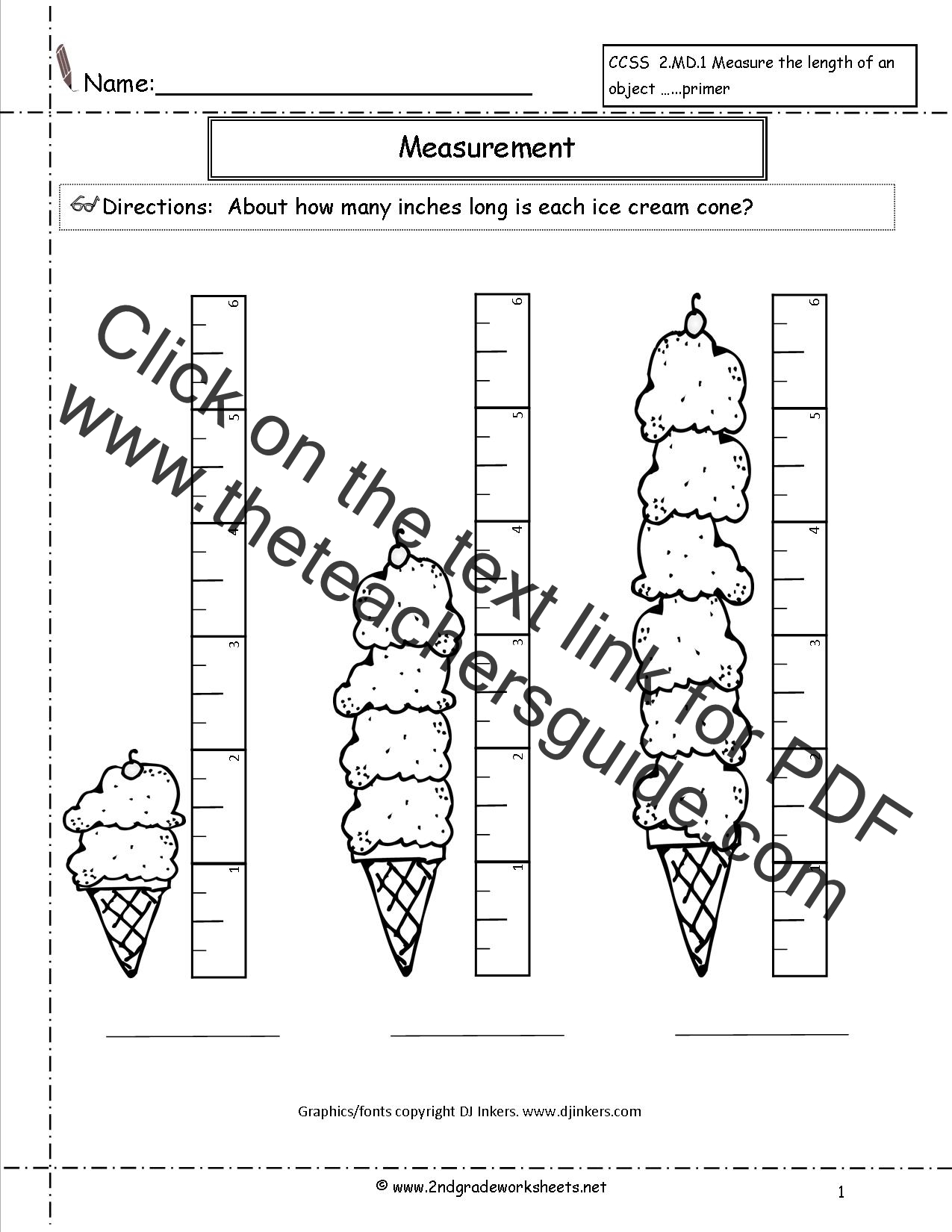 CCSS 2MD1 Worksheets Measuring Worksheets – Second Grade Measurement Worksheets