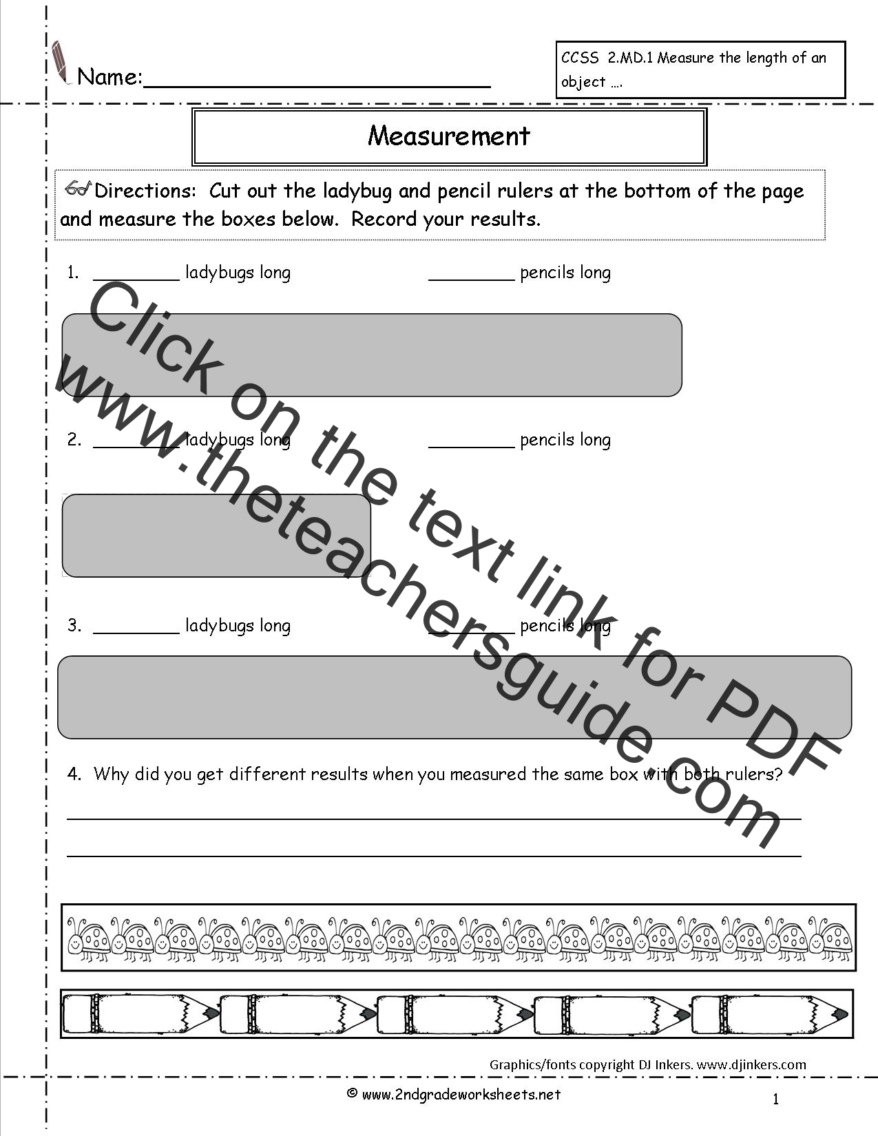 CCSS 2MD1 Worksheets Measuring Worksheets – Measurement Worksheets Grade 1