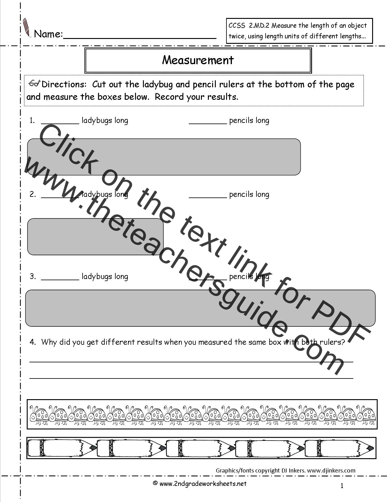 CCSS 2 MD 2 Worksheets Measuring and Estimating Lengths Worksheets