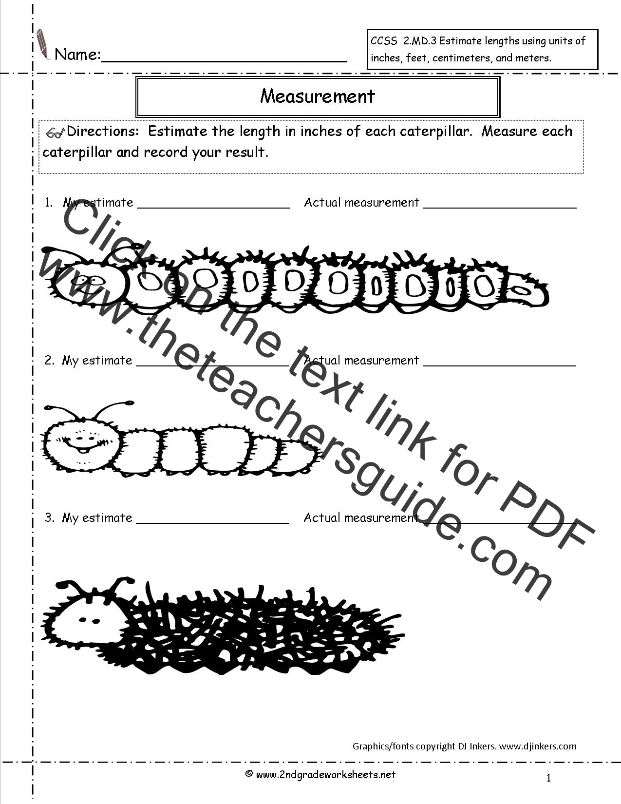 2nd Grade Math Common Core State Standards Worksheets – Non Standard Measurement Worksheets