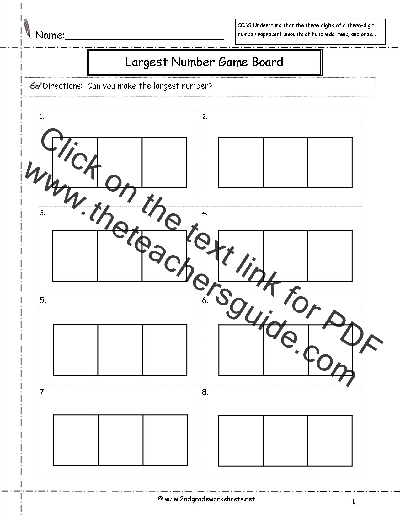 photo about Printable Place Value Game known as CCSS 2.NBT.1 Worksheets Area Great importance Worksheets.