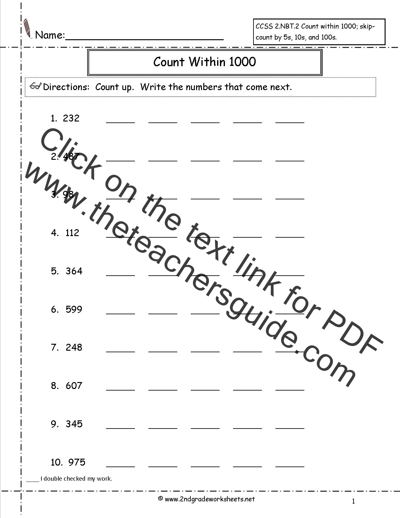 Ccss 2nbt2 Worksheets