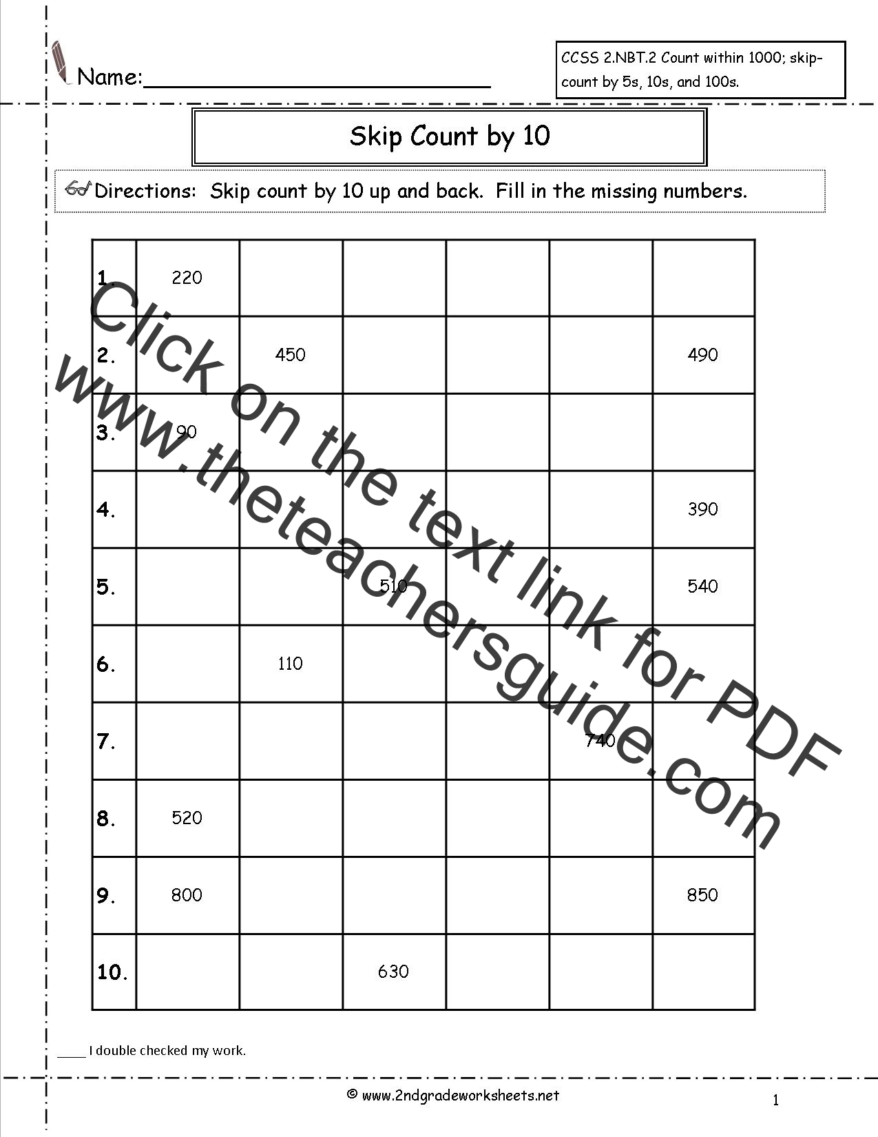 worksheet Skip Counting By 10 Worksheets ccss 2 nbt worksheets skip counting by 10 worksheets