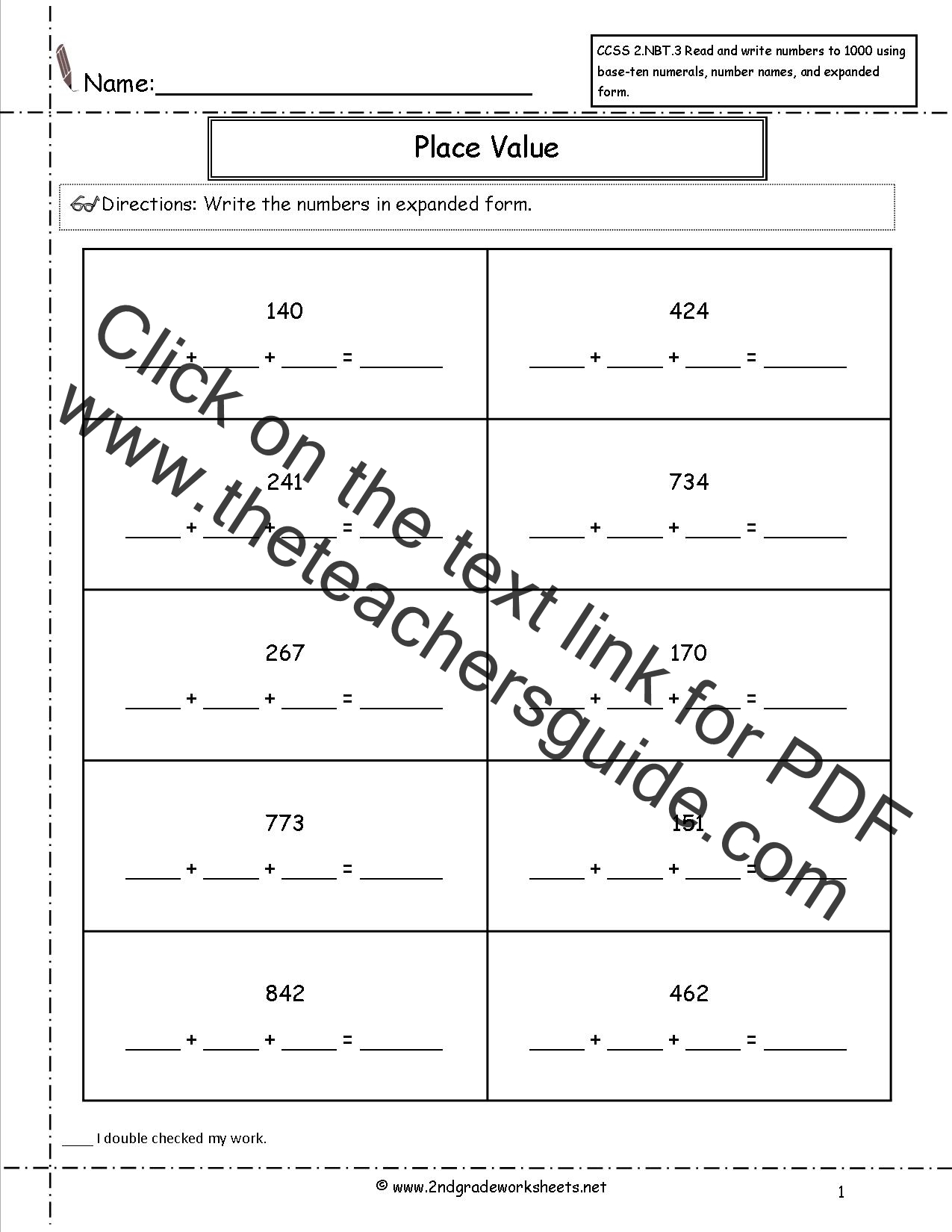 CCSS 2.NBT.3 Worksheets. Place Value Worksheets-Read and Write Numbers