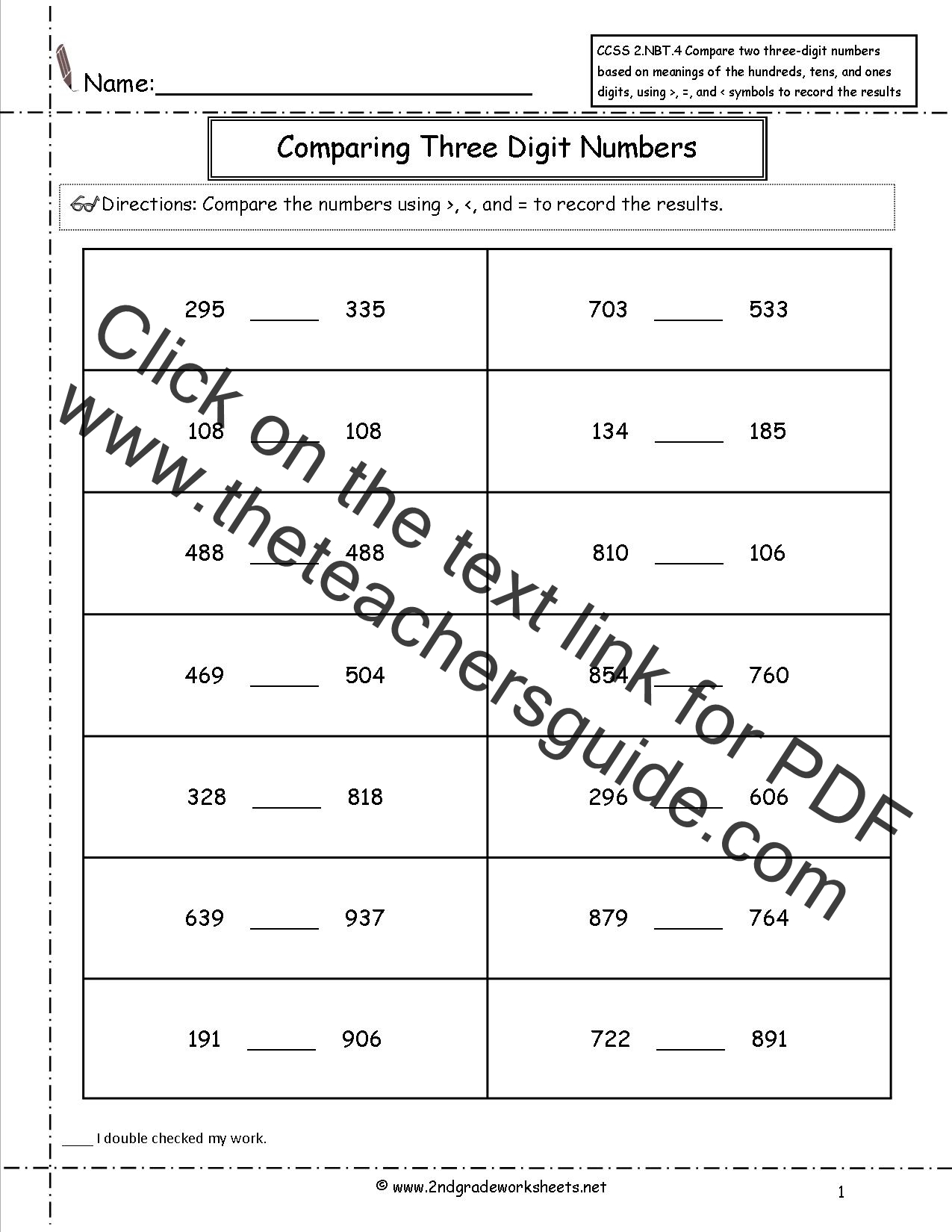 CCSS 2NBT4 Worksheets Comparing three digit numbers – Compare Numbers Worksheet