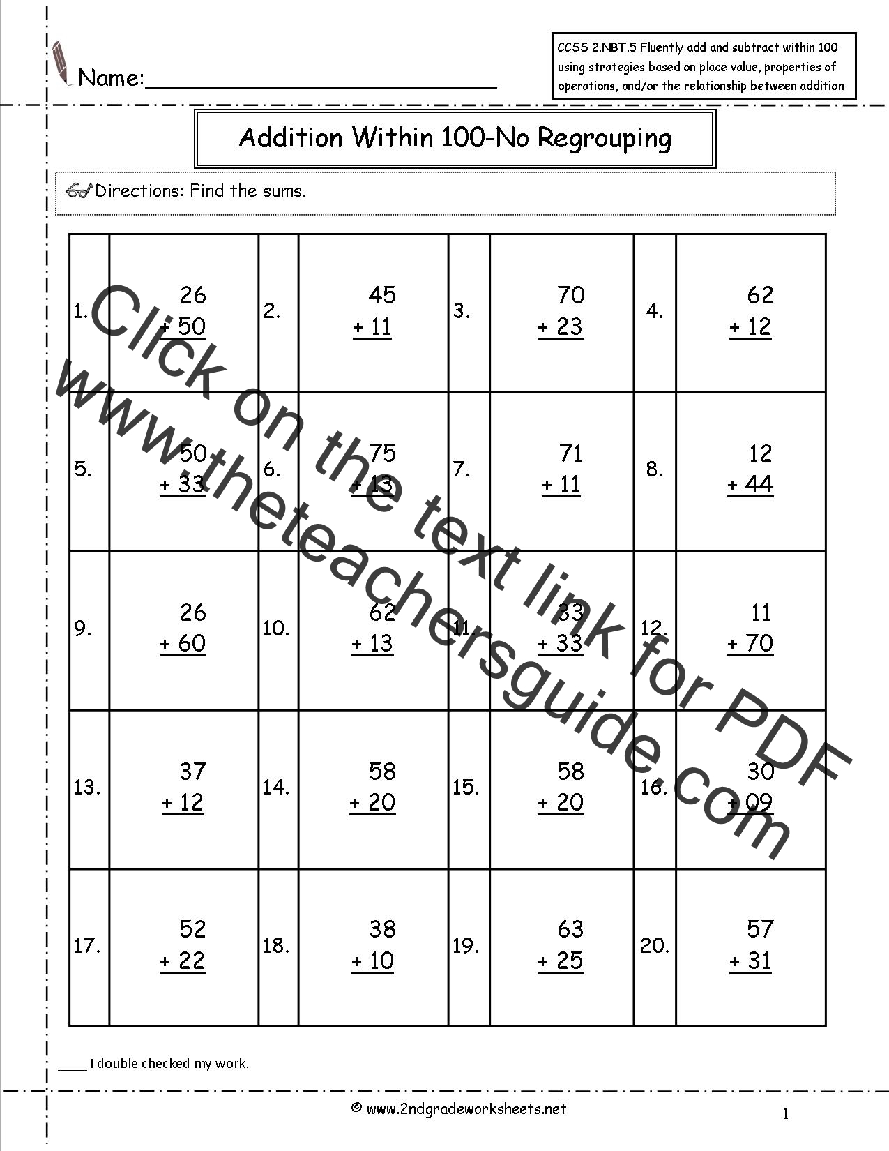 CCSS 2NBT5 Worksheets Two Digit Addition and Subtraction Within – Base Ten Addition Worksheets