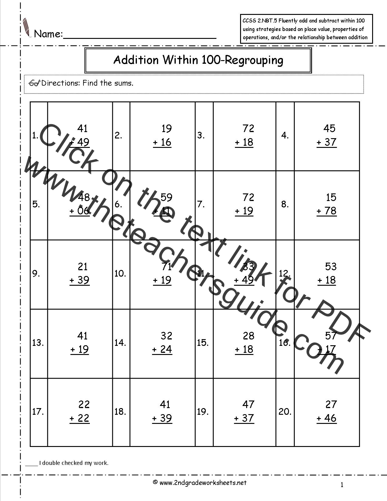CCSS 2NBT5 Worksheets Two Digit Addition and Subtraction Within – Two Digit Addition with Regrouping Worksheet