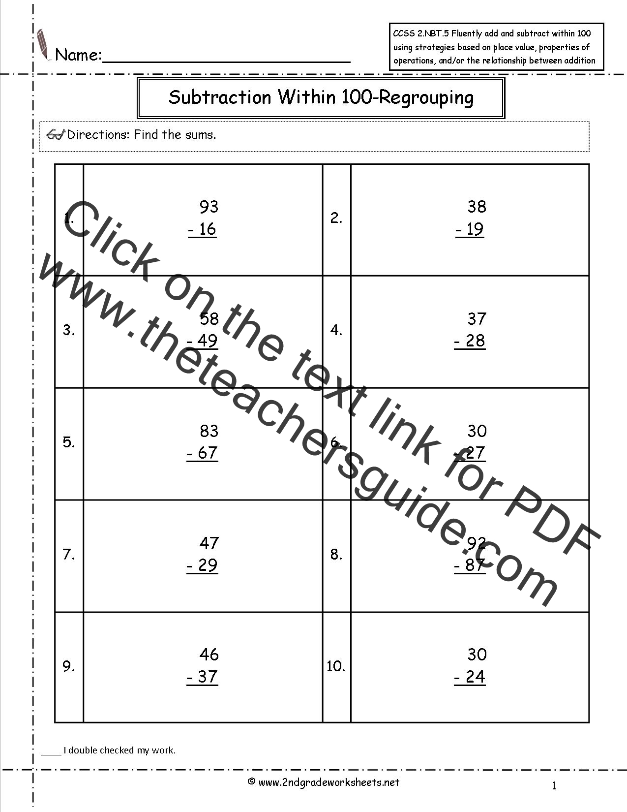 CCSS 2NBT5 Worksheets Two Digit Addition and Subtraction Within – Two Digit Addition and Subtraction with Regrouping Worksheets