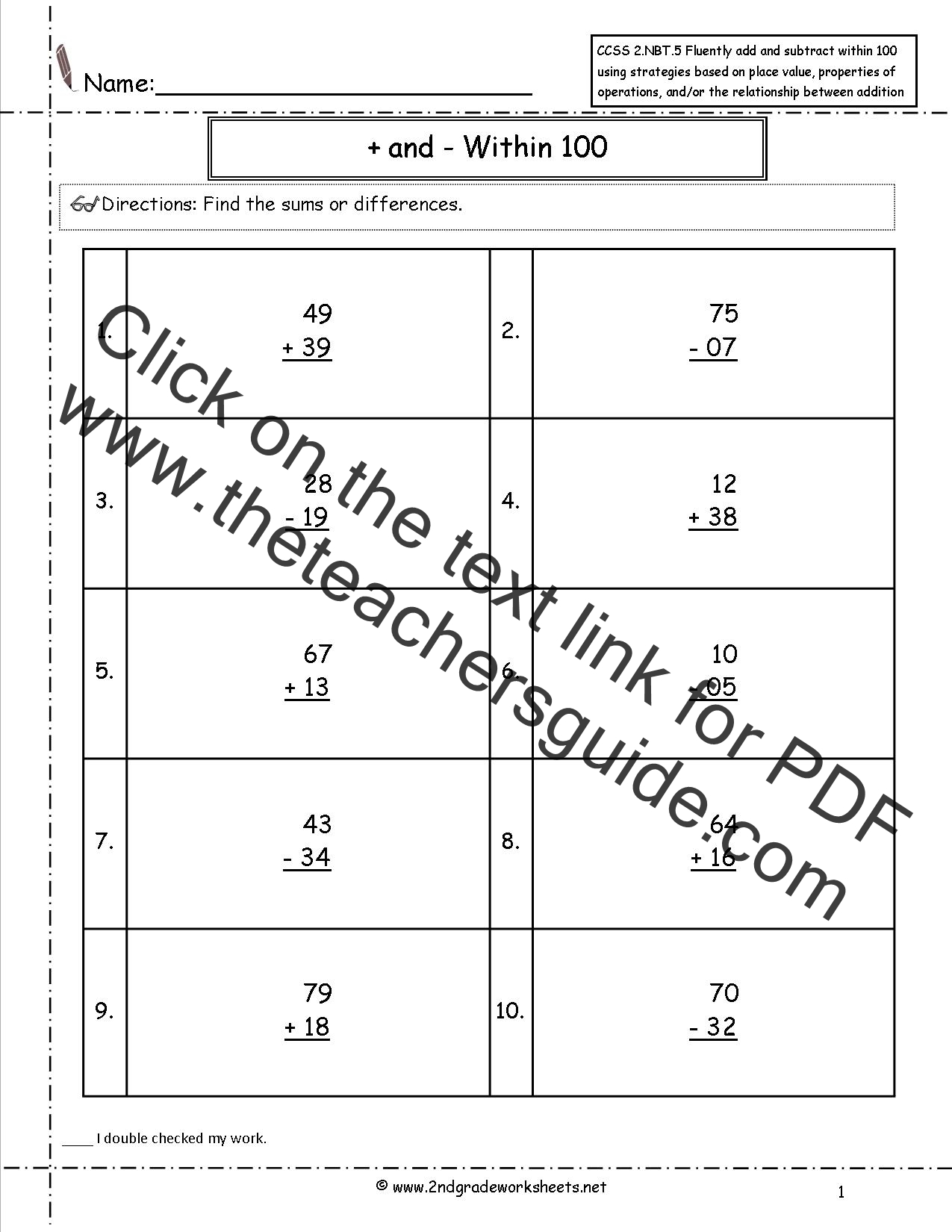 ... Worksheets. Two Digit Addition and Subtraction Within 100 Worksheets