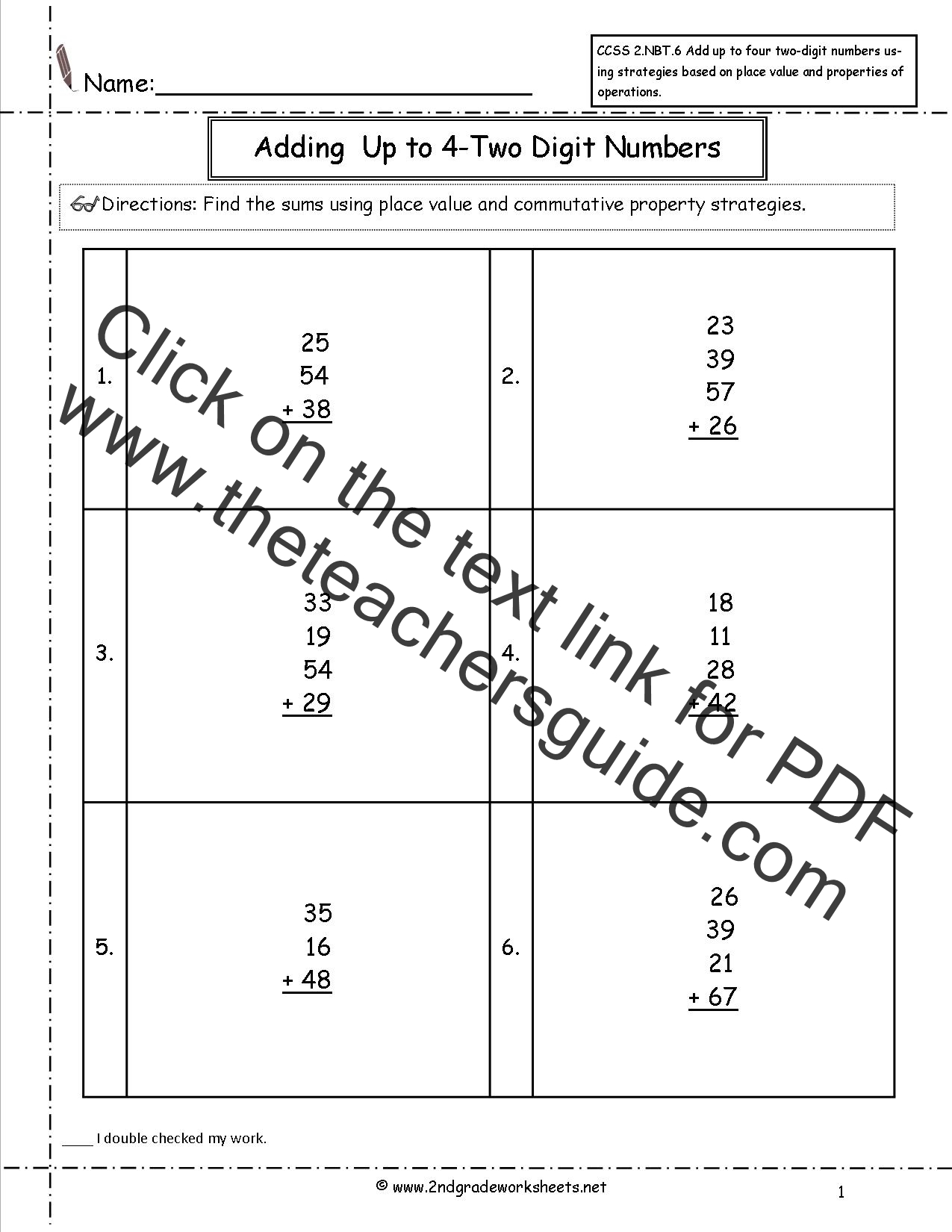 CCSS 2NBT6 Worksheets Adding up to Four 2Digit Numbers Worksheets – Base Ten Addition Worksheets