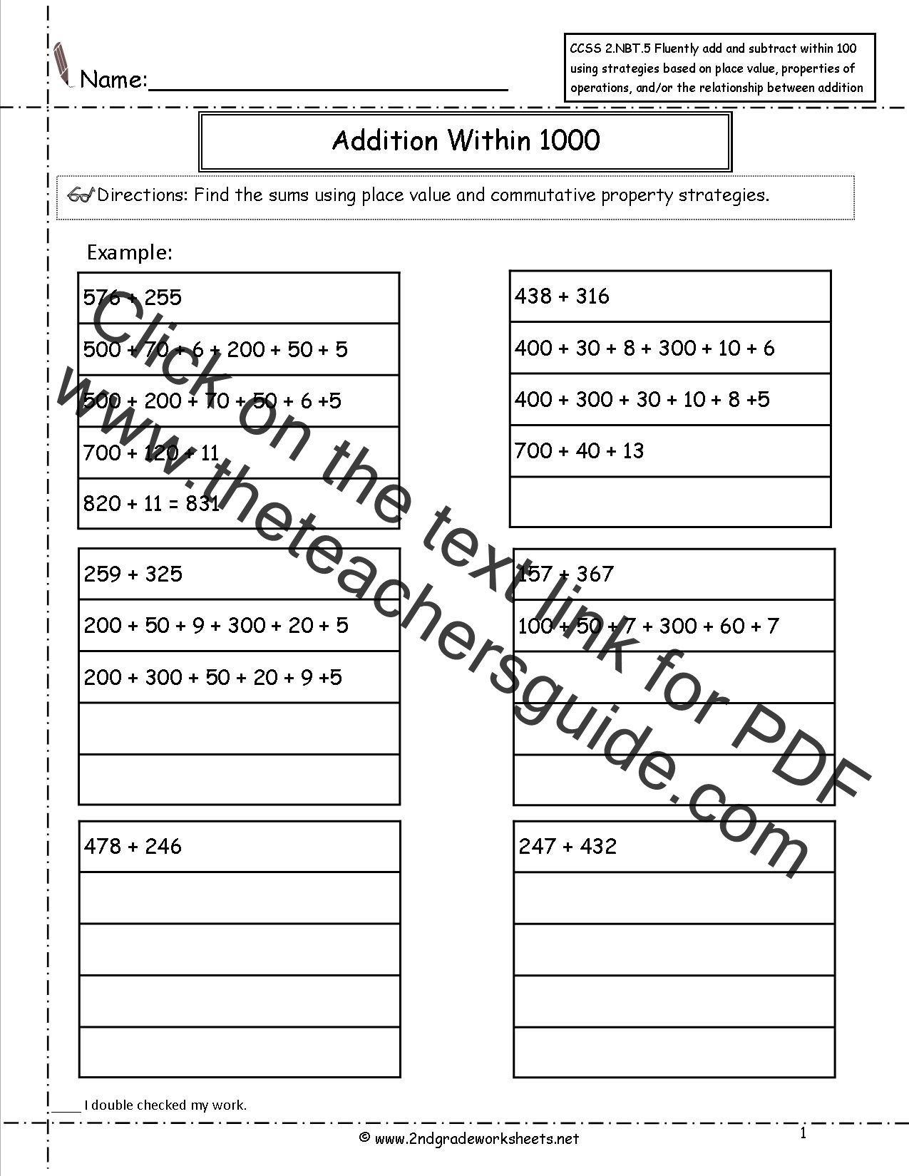 {CCSS 2NBT7 Worksheets Addition and Subtraction Within 1000 – Number and Operations in Base Ten Worksheets