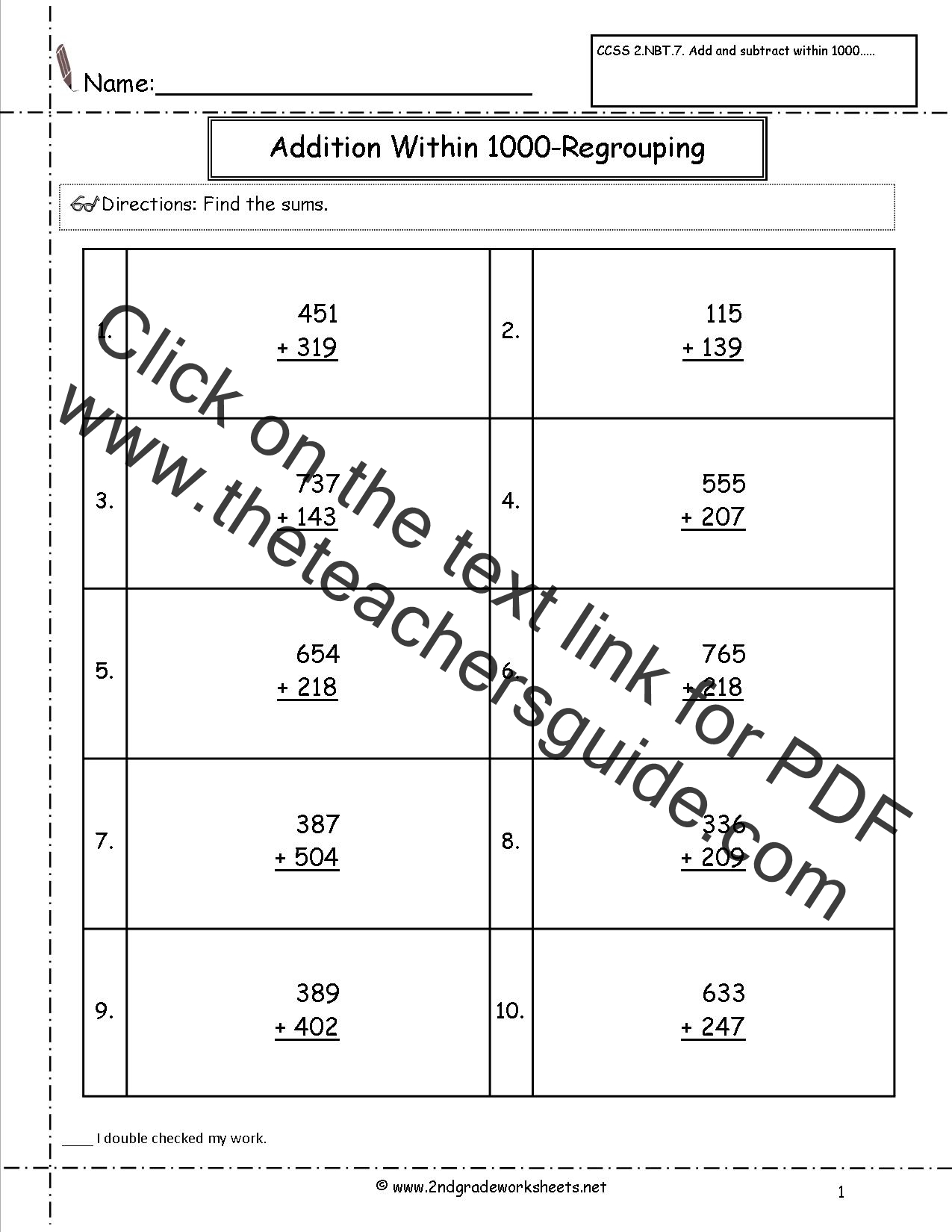 CCSS 2NBT7 Worksheets Addition and Subtraction Within 1000 – Mathland Worksheets