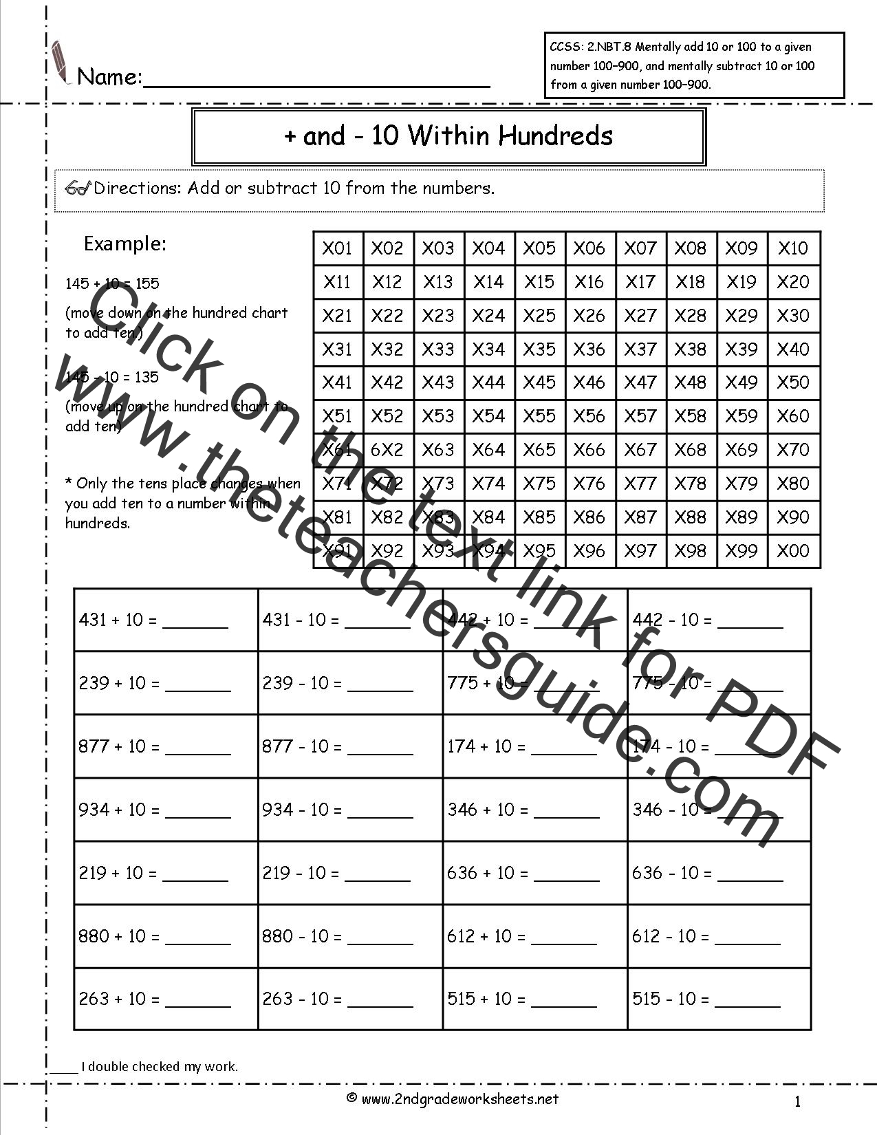 CCSS 2NBT8 Worksheets Adding and Subtracting 10 and 100 From a – Subtracting 10 Worksheet