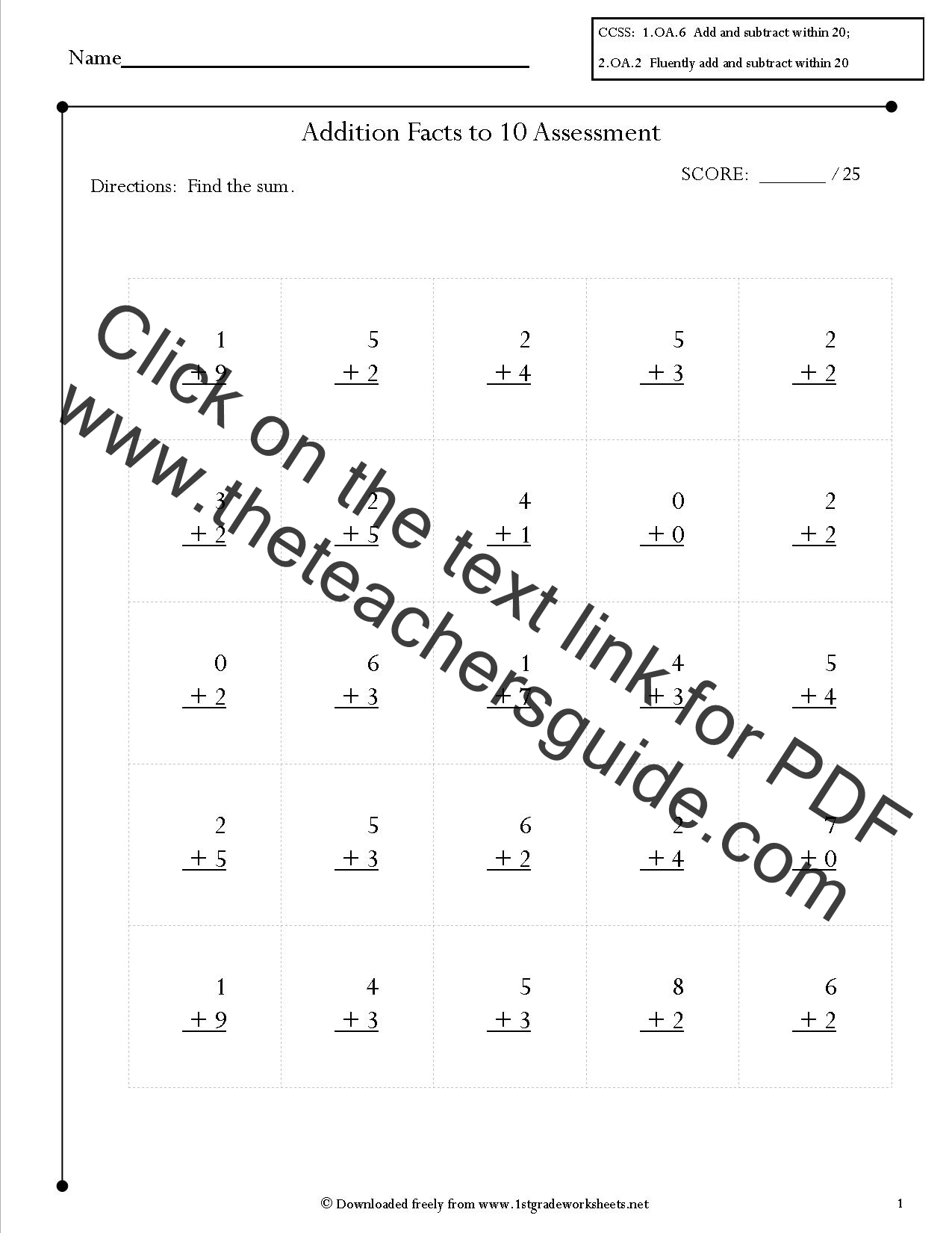 worksheet Addition Facts free single digit addition worksheets facts assessments