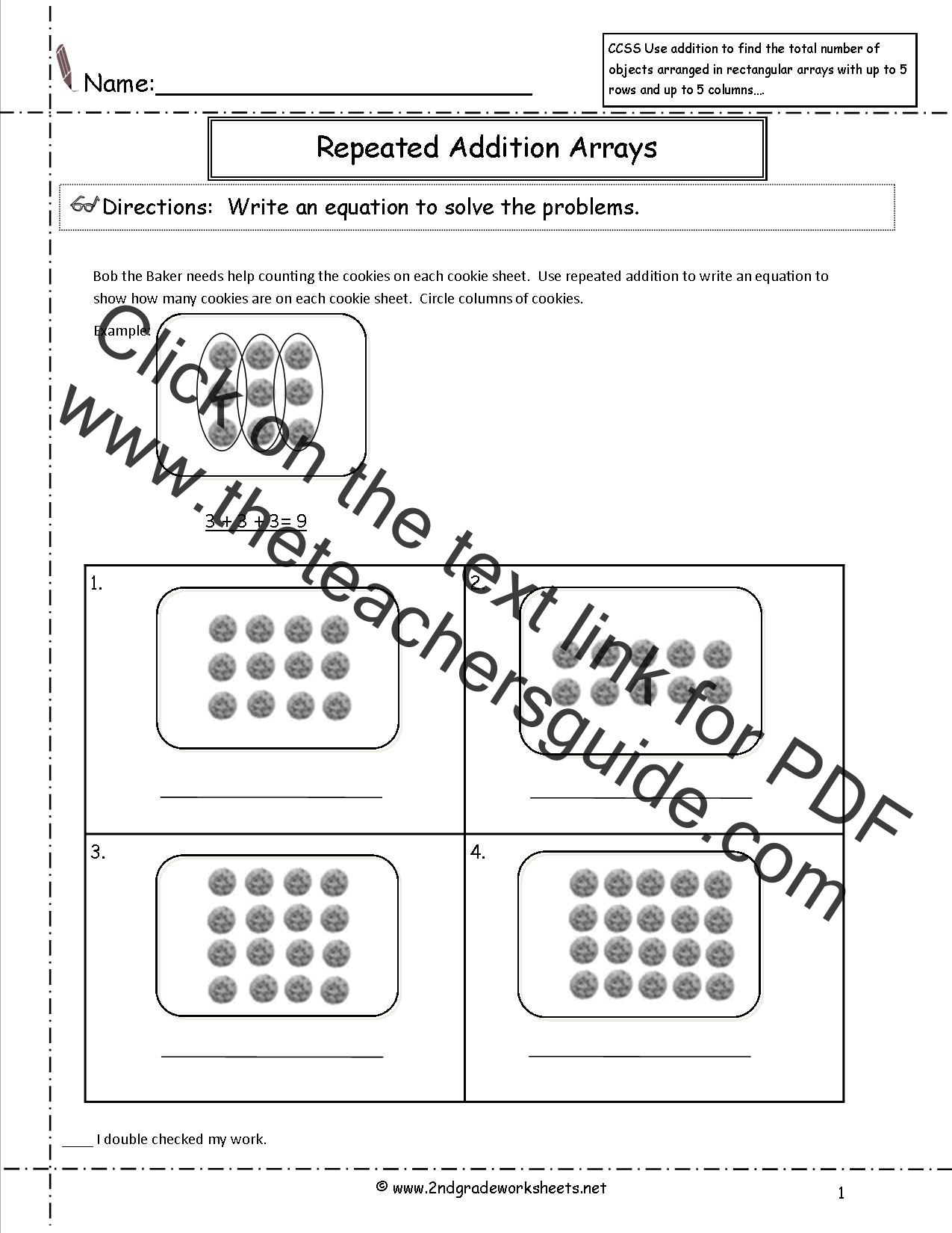 CCSS 2OA4 Worksheets – Array Multiplication Worksheets