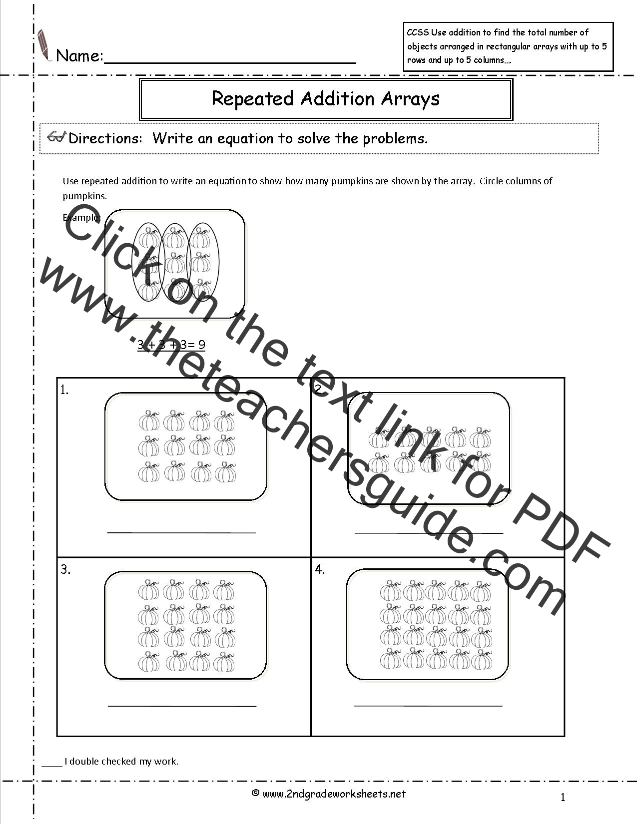 CCSS 2OA4 Worksheets – Arrays Worksheet