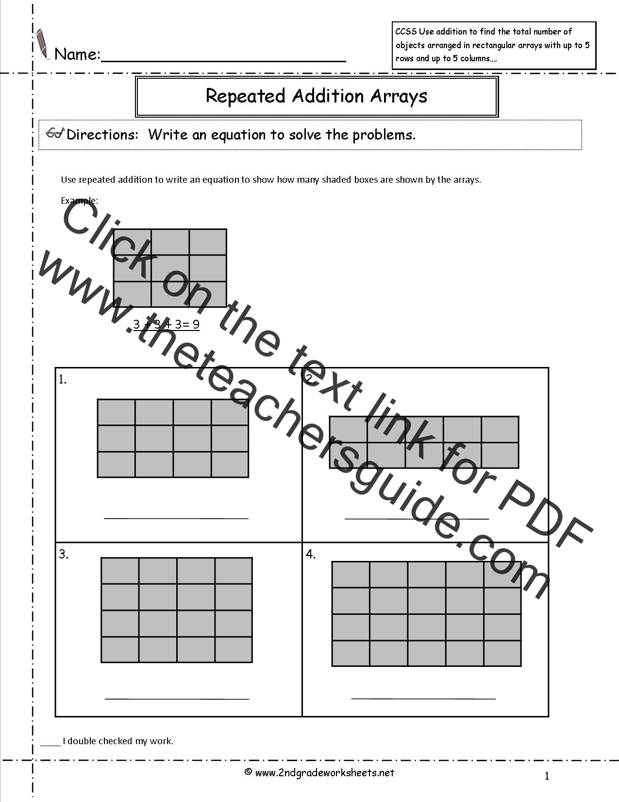 math worksheet : ccss 2 oa 4 worksheets : Array Math Worksheets