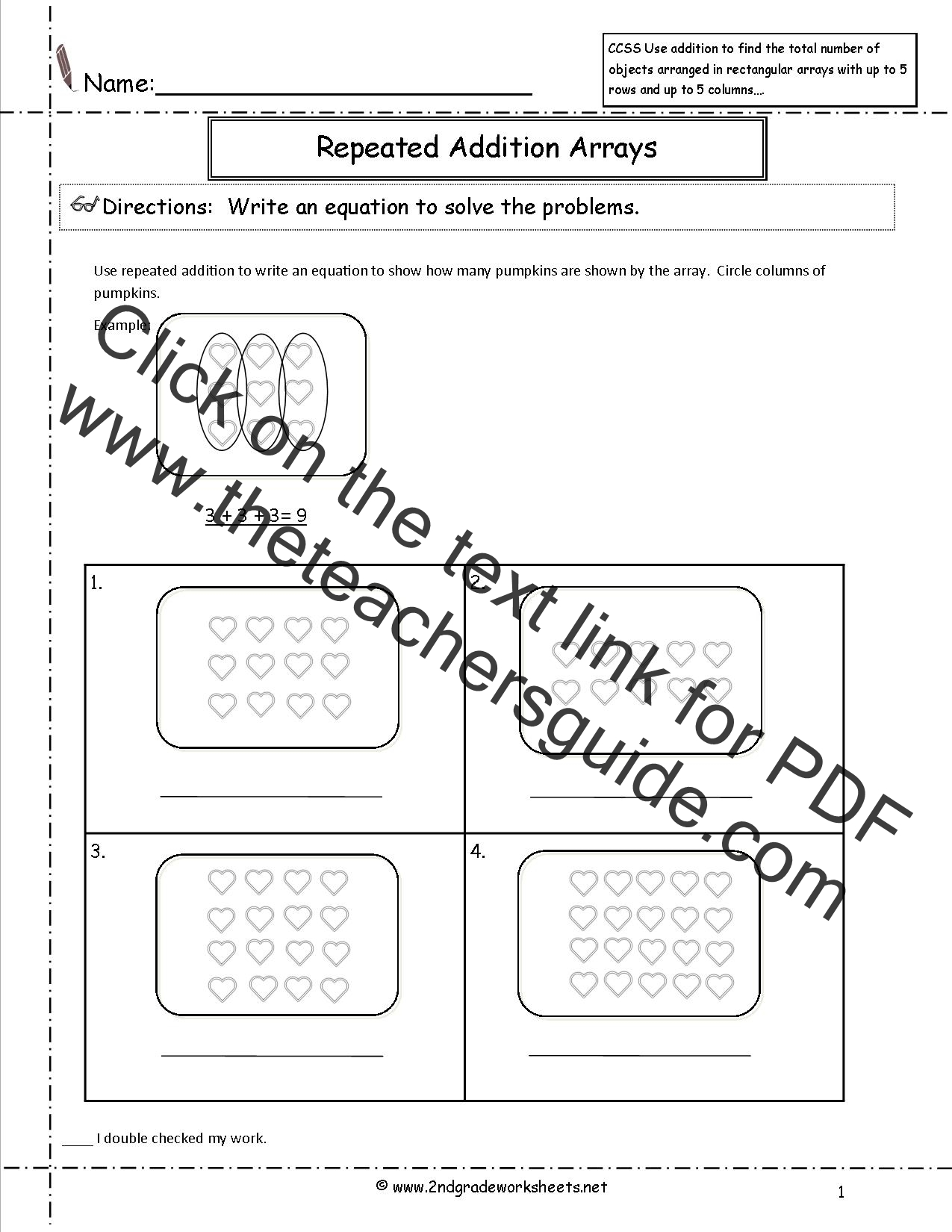 CCSS 2OA4 Worksheets – Repeated Addition Worksheets for 2nd Grade