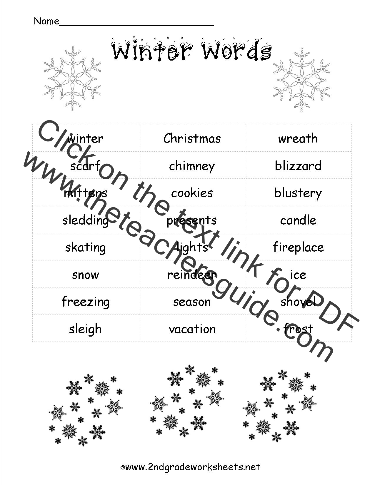 winter words list - Free Printable Christmas Activity Pages