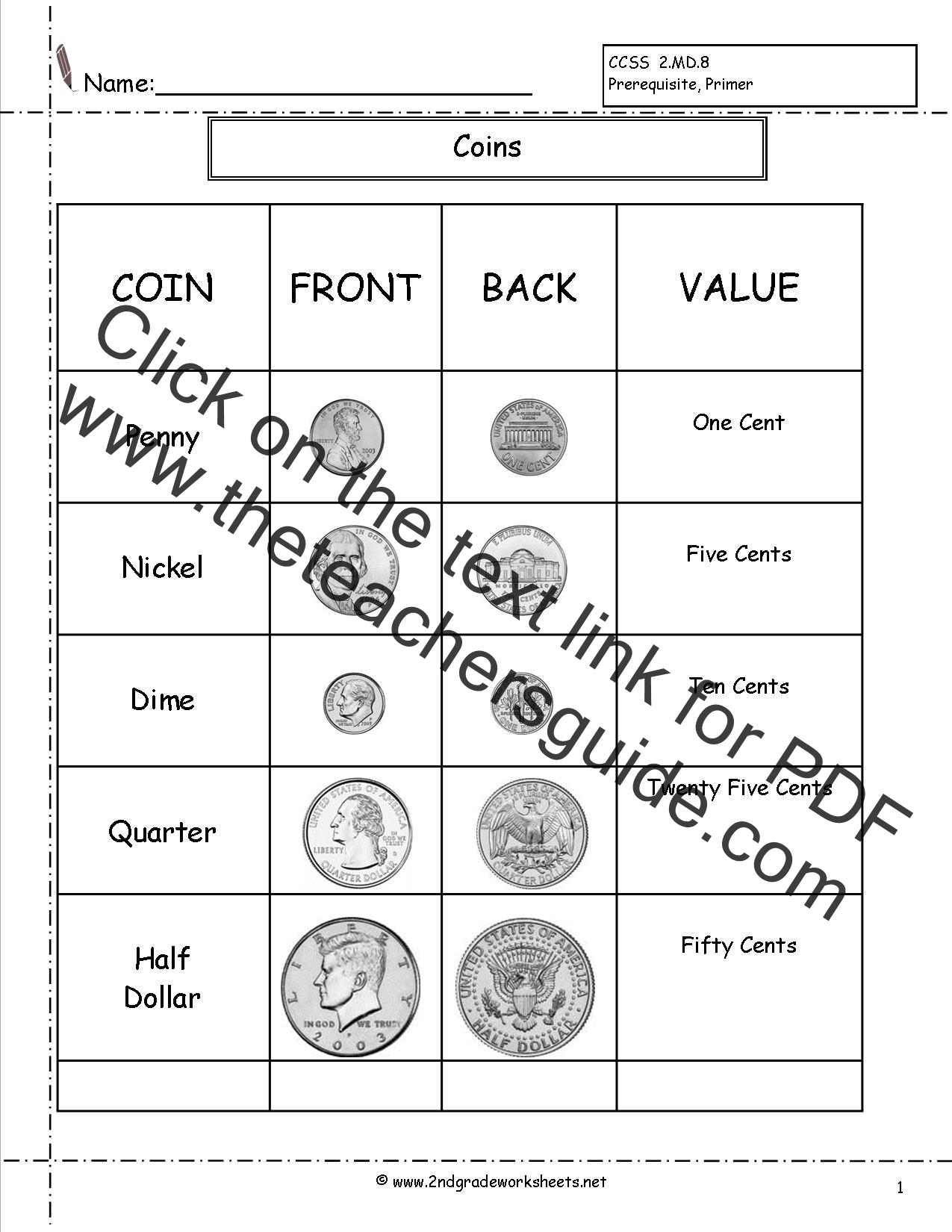 Counting Coins and Money Worksheets and Printouts – Core Values Worksheet