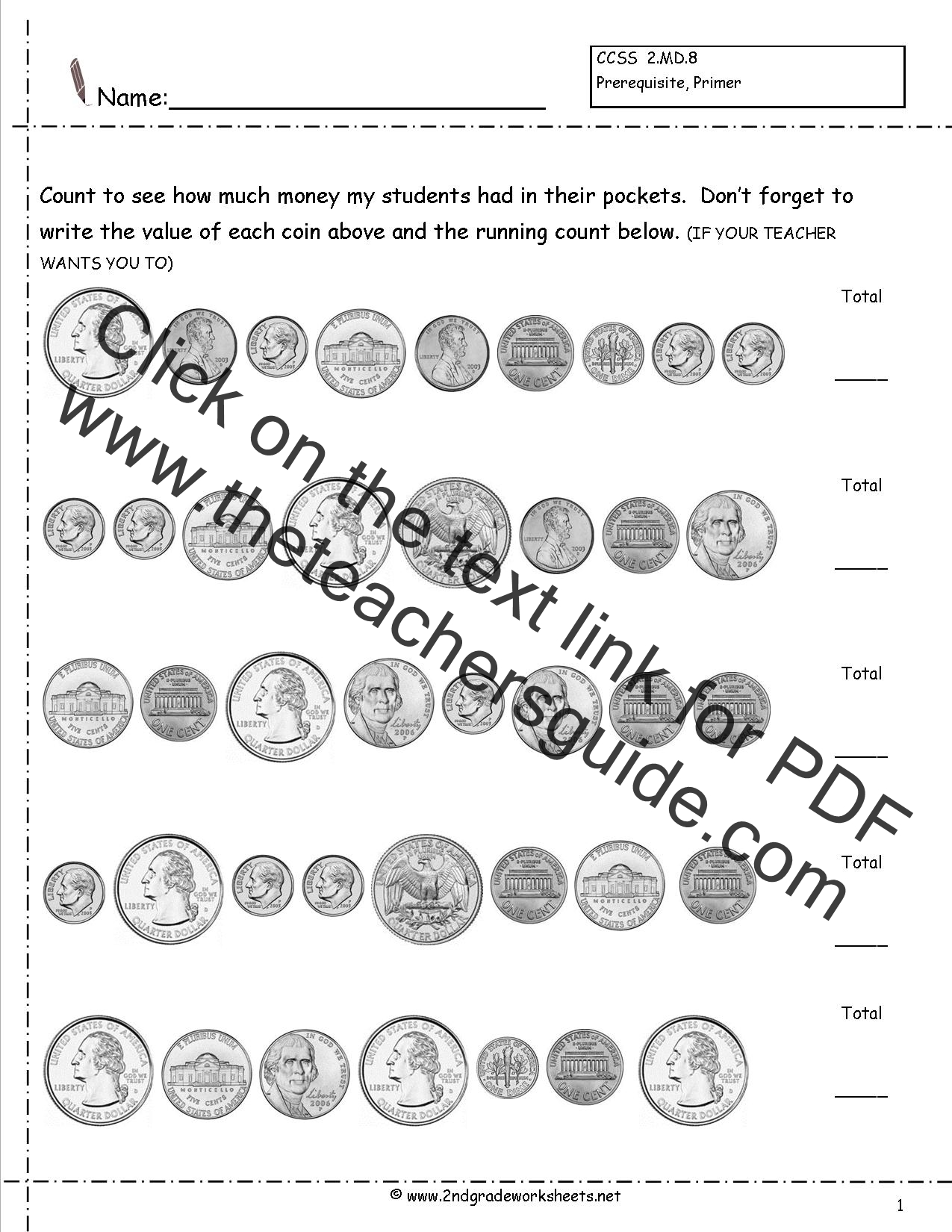 Counting Coins and Money Worksheets and Printouts – Counting Pennies Worksheet