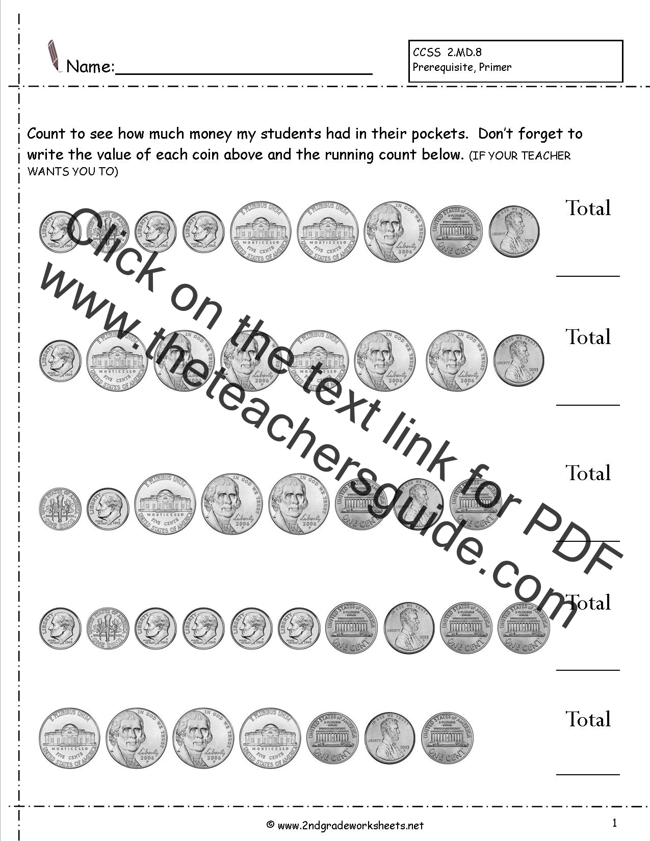 2nd Grade Math Common Core State Standards Worksheets – Money Practice Worksheets