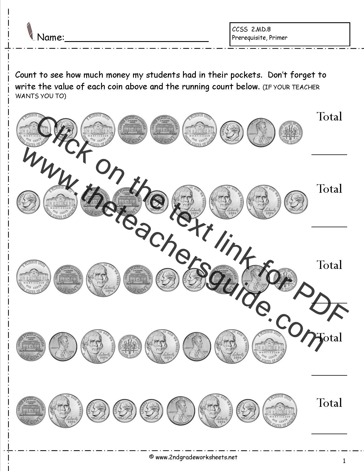 CCSS 2.MD.8 Worksheets, Counting Coins Worksheets, Money ...