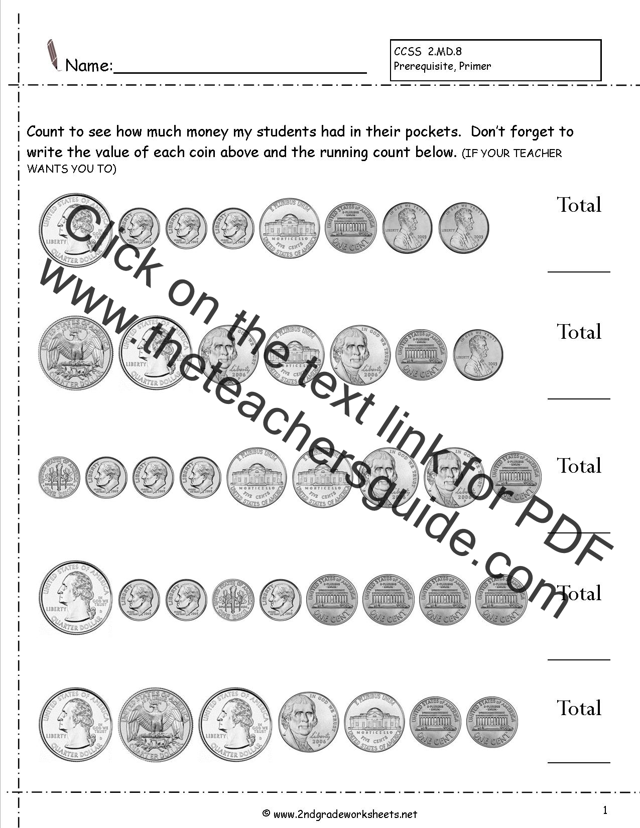 Counting Coins and Money Worksheets and Printouts – 2nd Grade Worksheet