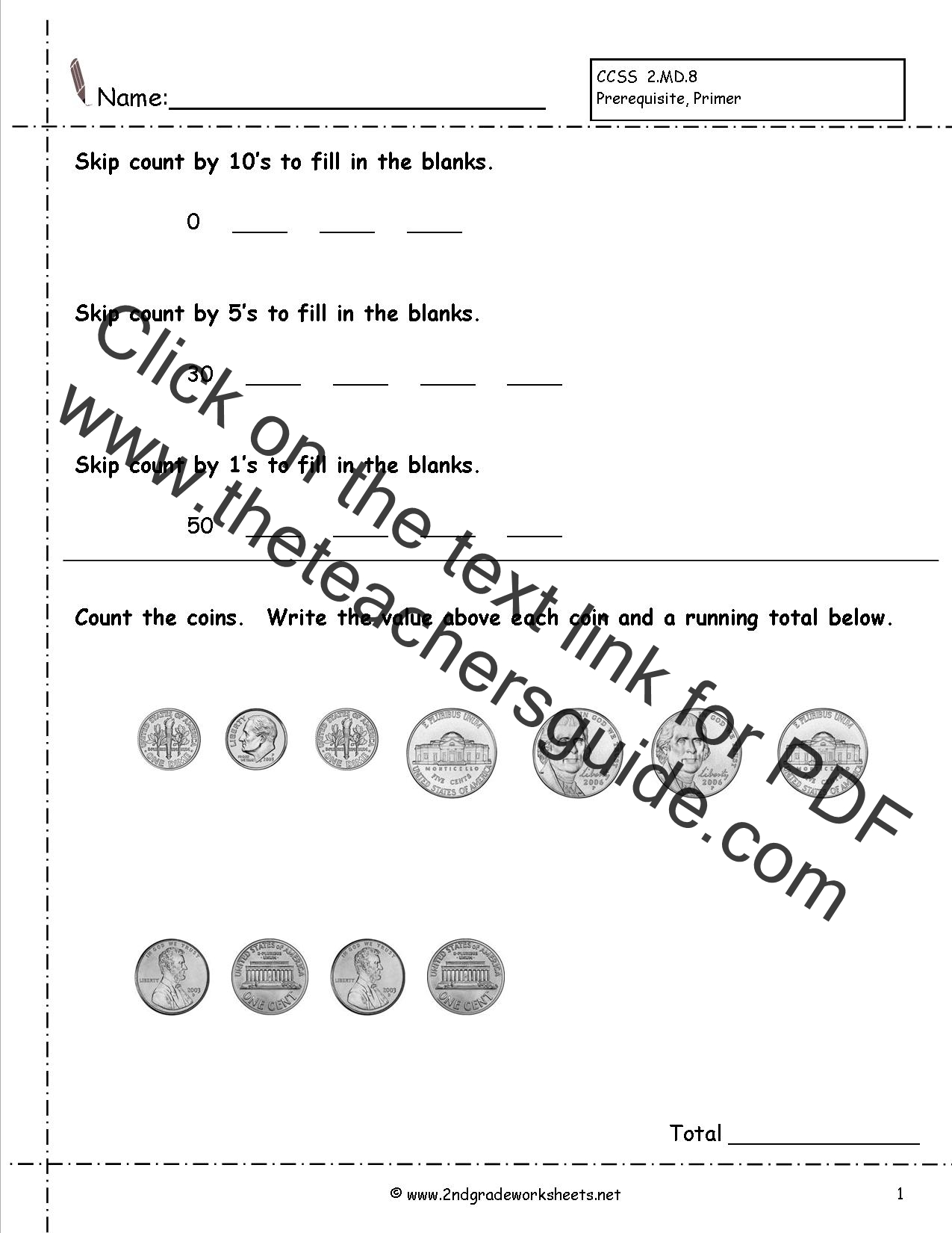 Counting Coins and Money Worksheets and Printouts – Value of Coins Worksheet