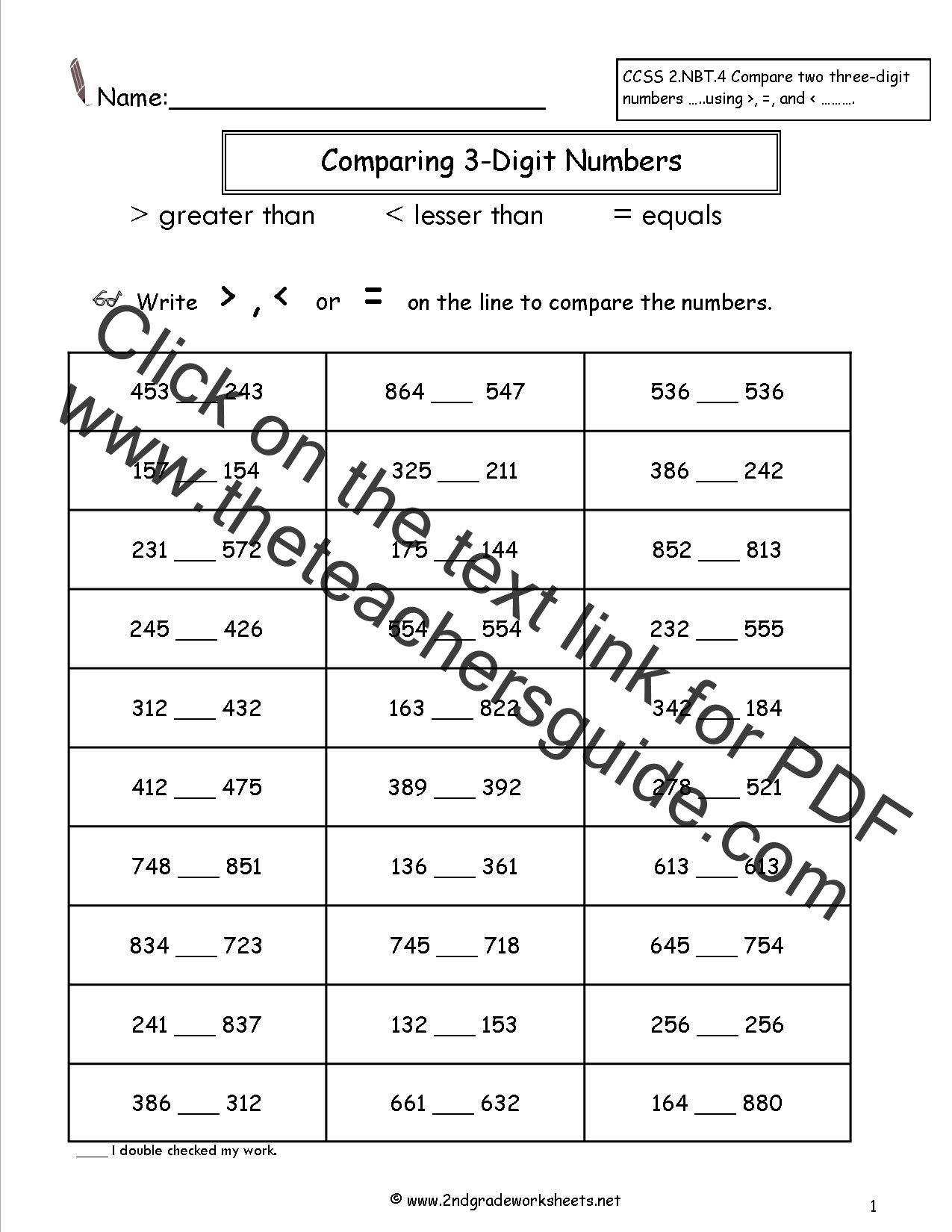 worksheet Comparing Numbers Worksheets 1st Grade comparing two and three digit numbers worksheets worksheet